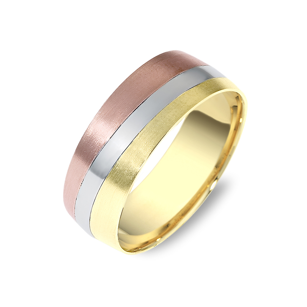 Tri Color Gold Wedding Band | Timeless Wedding Bands Throughout Recent Diamond Slant Anniversary Bands In Gold (View 20 of 25)
