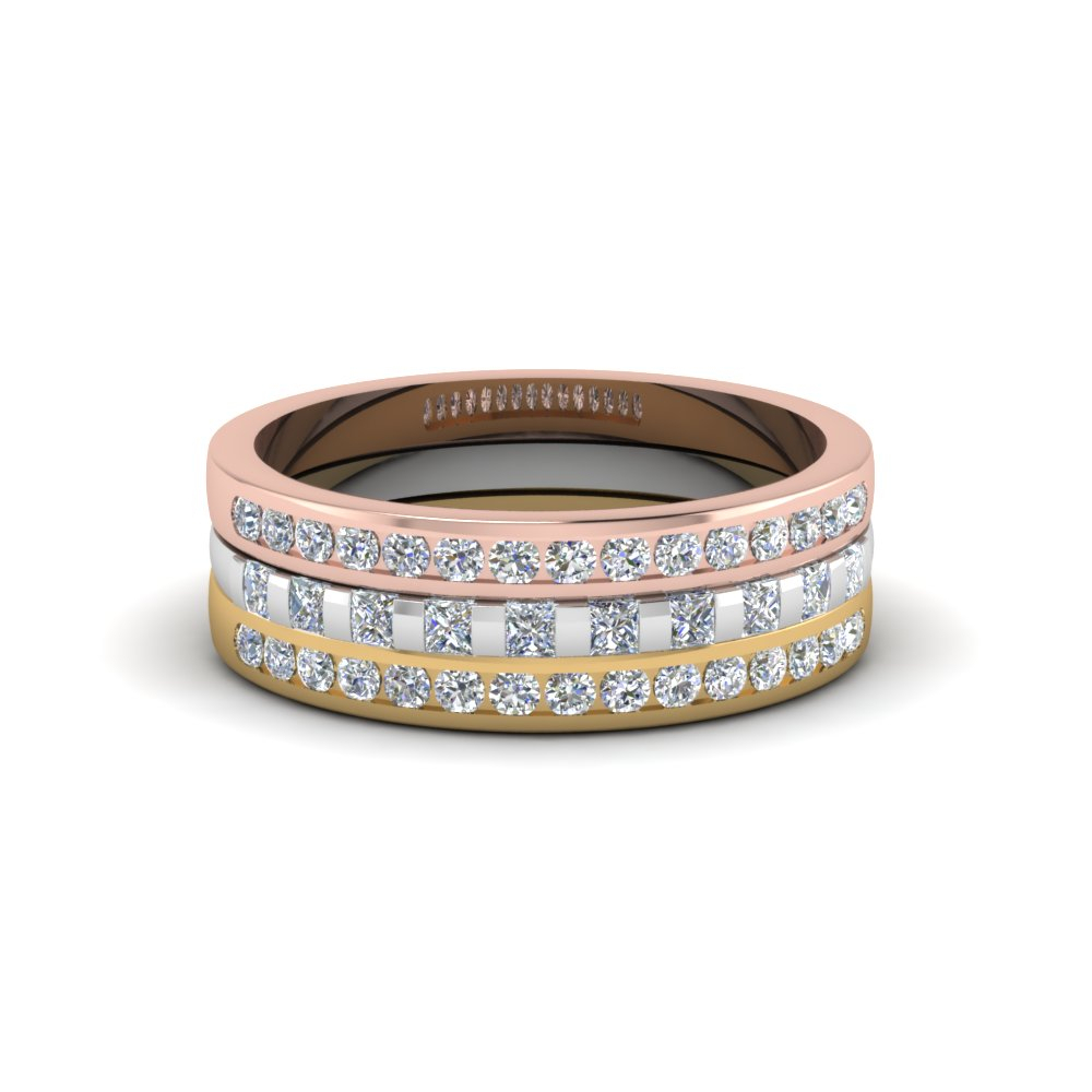 Tricolor 3 Ring Stackable Diamond Band Regarding Newest Diamond Channel Anniversary Bands In Rose Gold (View 19 of 25)