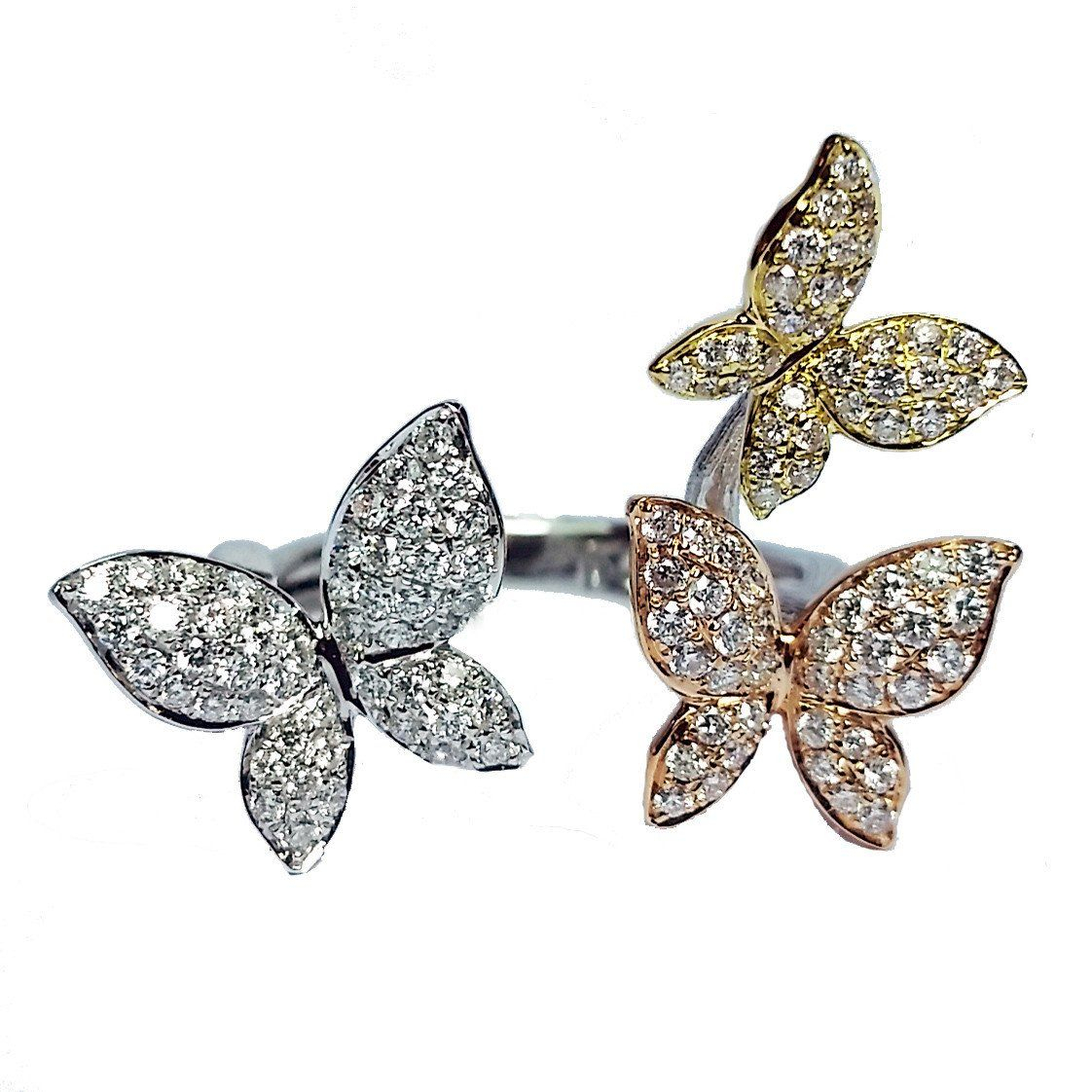 Tricolor Open Diamond Butterfly Ring | Jewelry I Like | Butterfly Intended For Best And Newest Butterfly Open Rings (View 24 of 25)