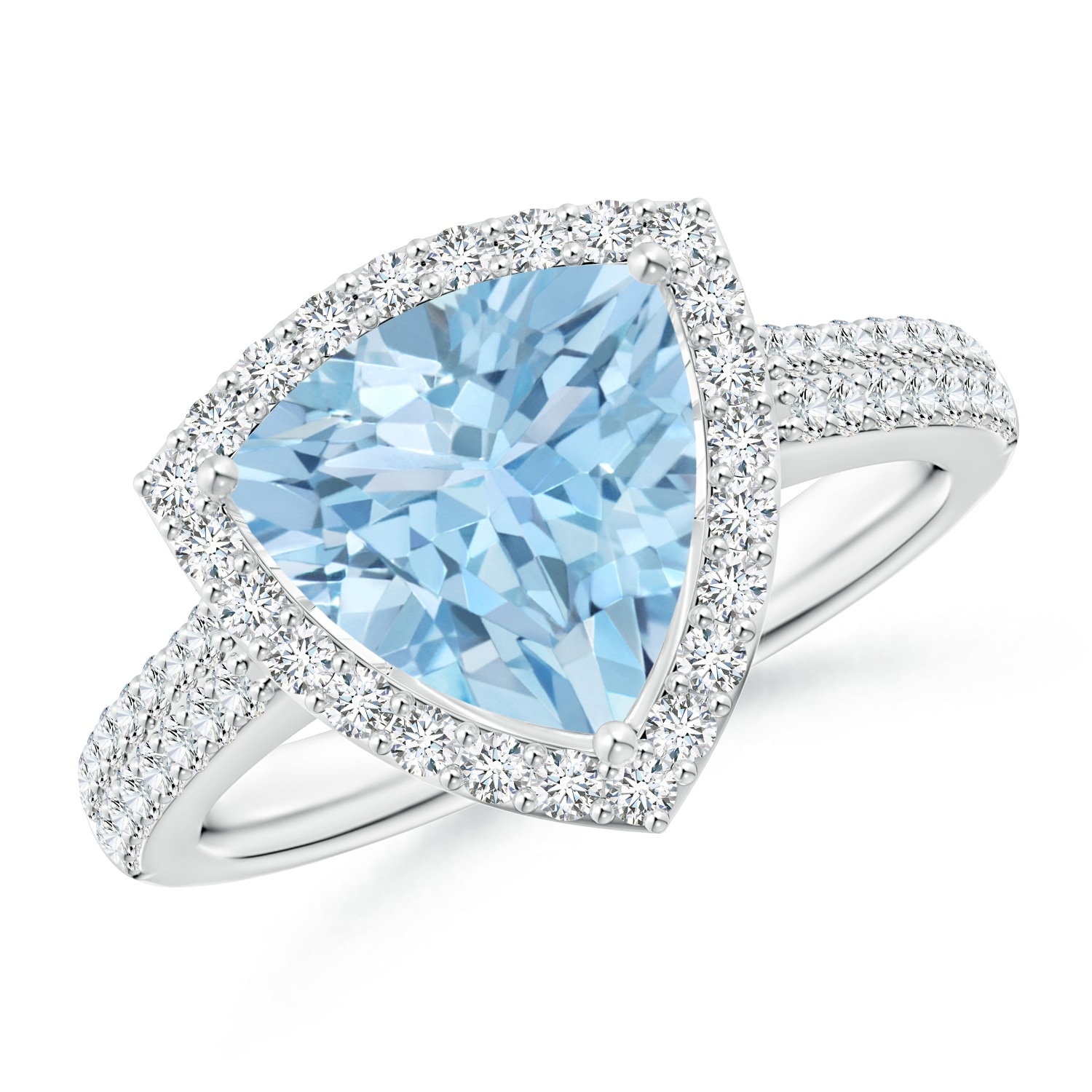 Trillion Aquamarine Cocktail Halo Ring With Diamond Accents Throughout Most Recently Released Sparkling Halo Rings (Gallery 21 of 25)