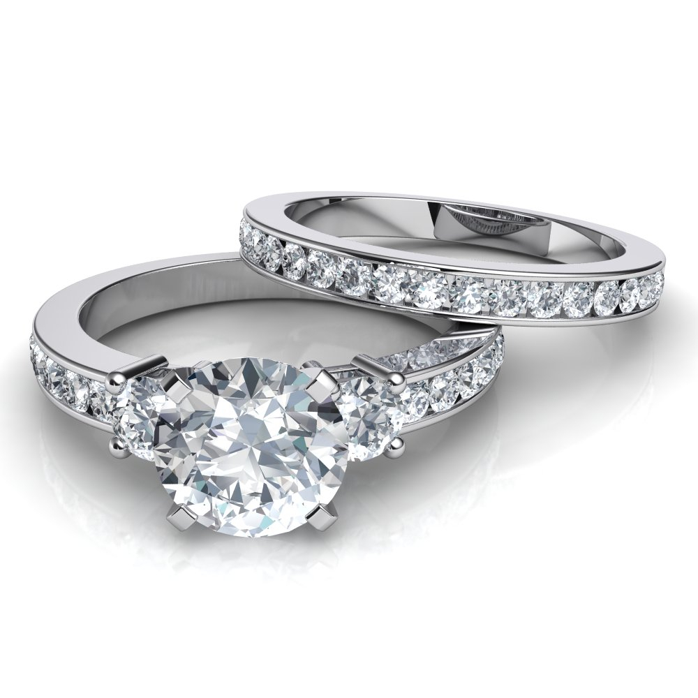 Trilogy Engagement Ring And Matching Wedding Band Bridal Set Pertaining To 2020 Enhanced Black And White Diamond Three Row Anniversary Bands In White Gold (View 12 of 25)