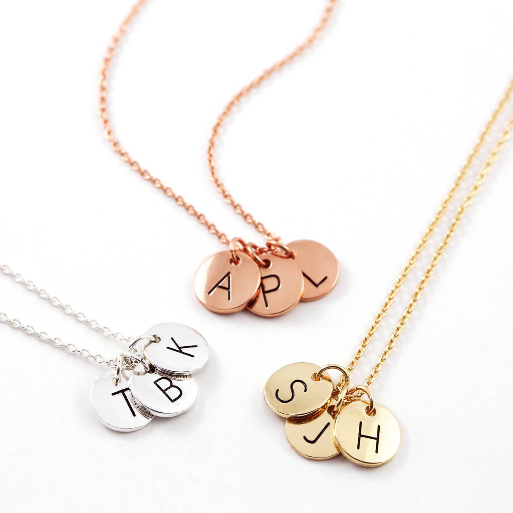Triple Letter Disc Necklace Inside Most Popular Letter E Alphabet Locket Element Necklaces (View 22 of 25)