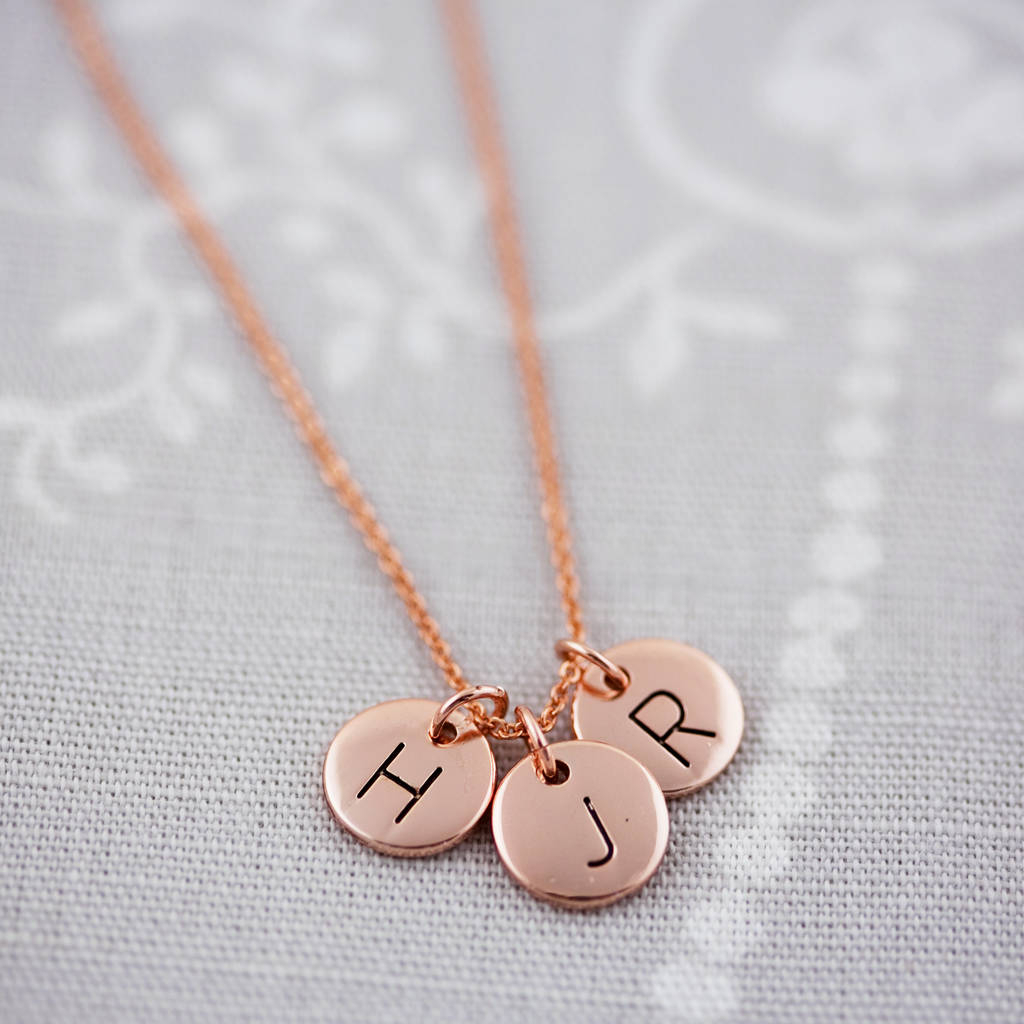 Triple Letter Disc Necklace Throughout Best And Newest Letter M Alphabet Locket Element Necklaces (View 21 of 25)