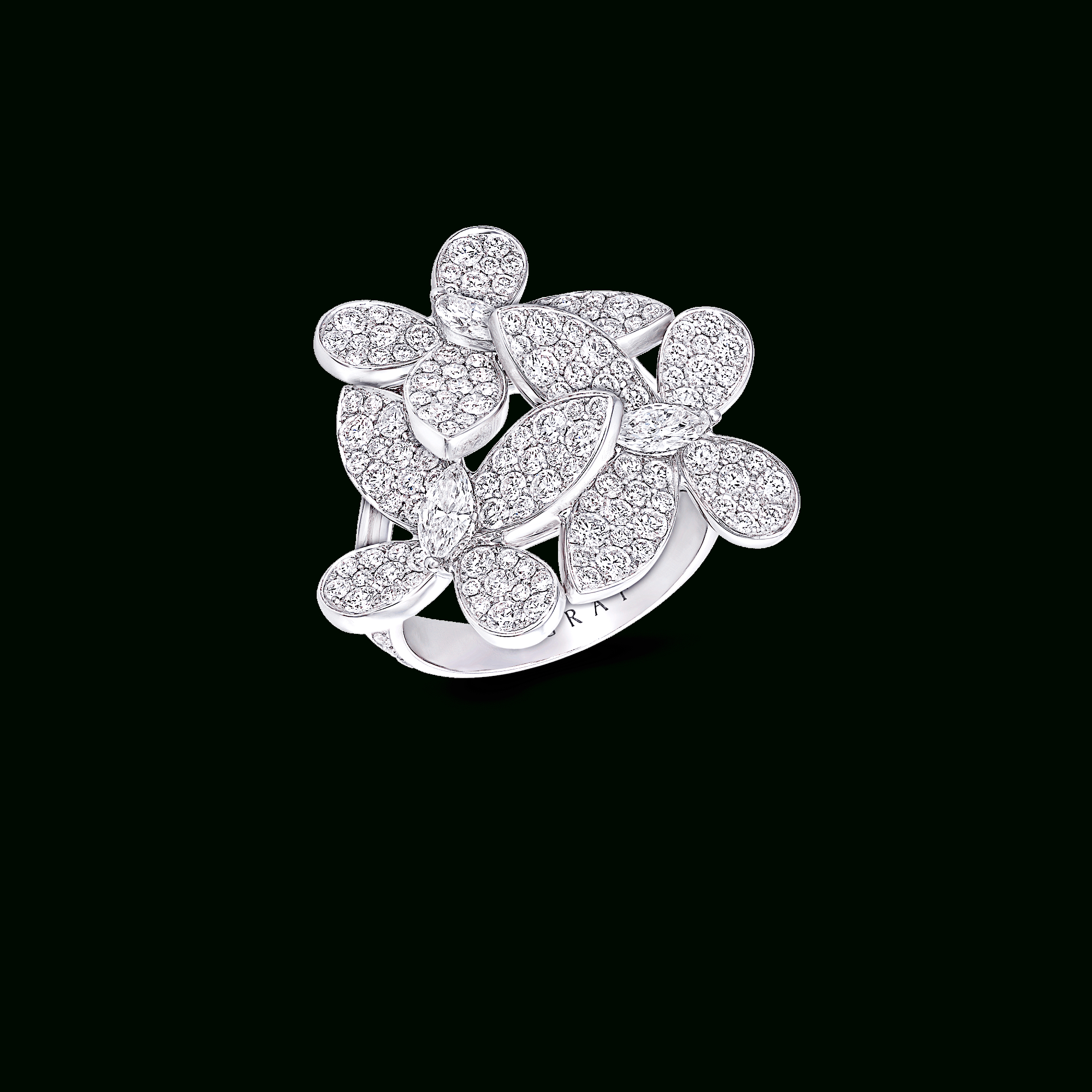 Triple Pavé Butterfly Ring, Diamond | Graff Inside Most Up To Date Pavé Flower Rings (Gallery 11 of 25)