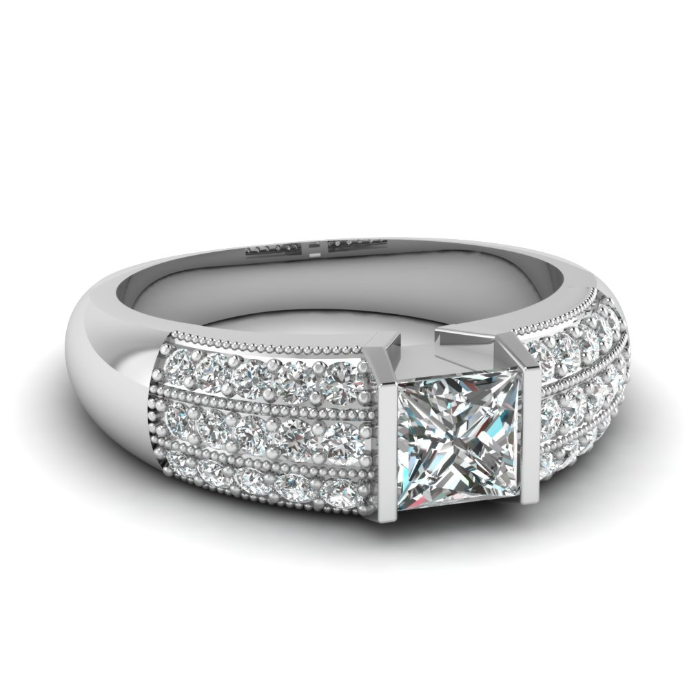 Triple Row Diamond Ring With Most Up To Date Diamond Vintage Style Three Row Anniversary Bands In White Gold (View 10 of 25)