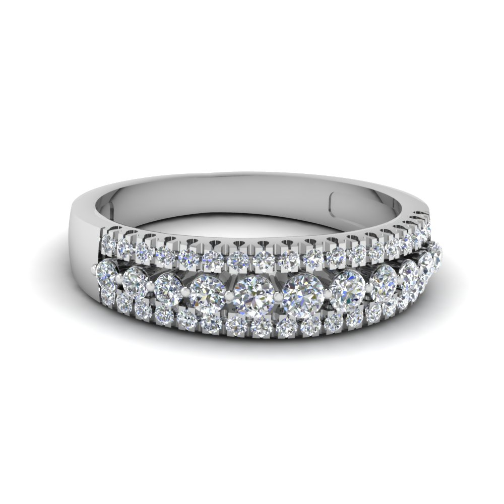 Triple Row Round Diamond Band Pertaining To Best And Newest Diamond Three Row Anniversary Bands In White Gold (View 17 of 25)