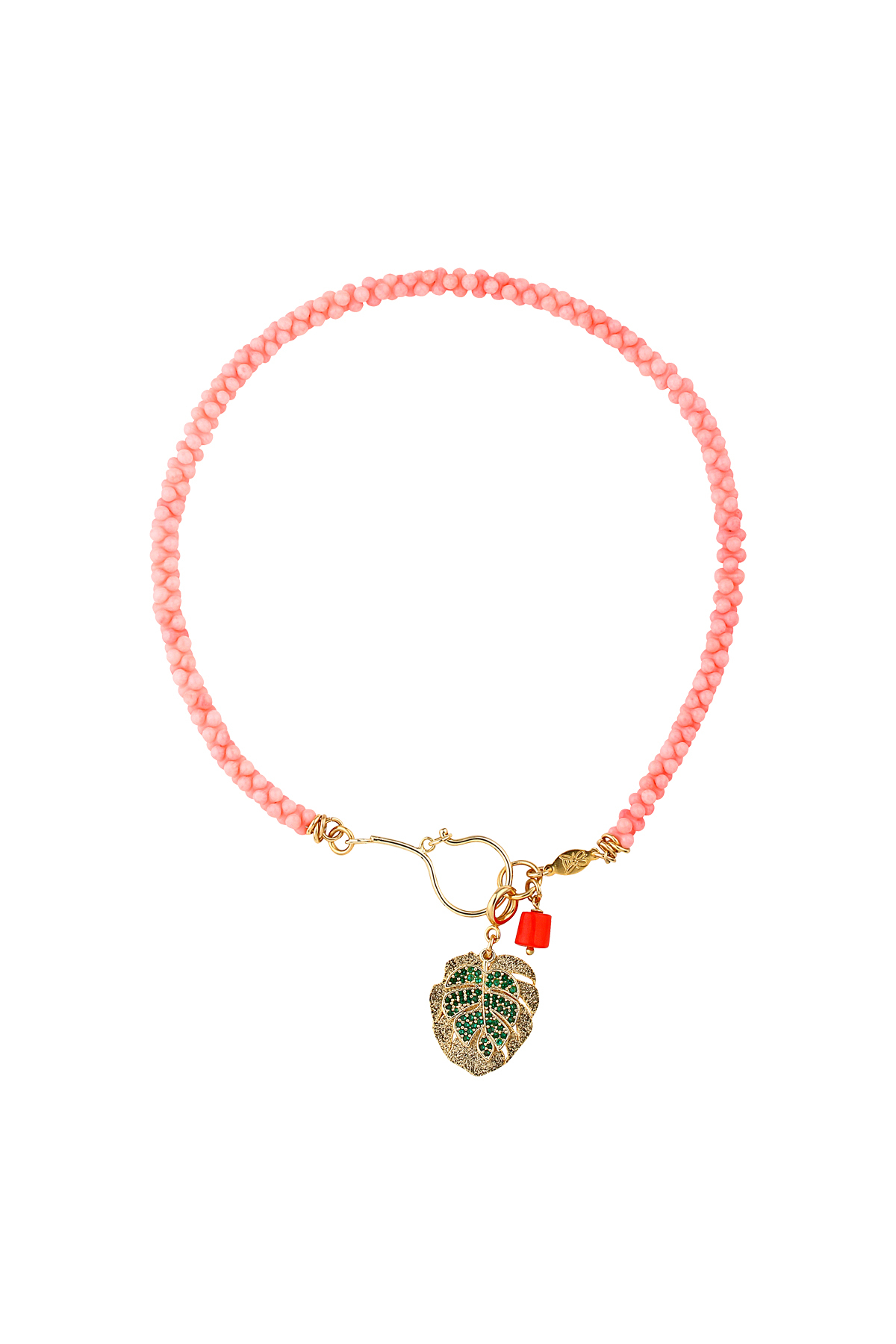 Tropic – Palm Leaf Pendant Necklace – Coral Nugget Beaded Necklace | App Inside Most Popular Tropical Palm Pendant Necklaces (View 6 of 25)
