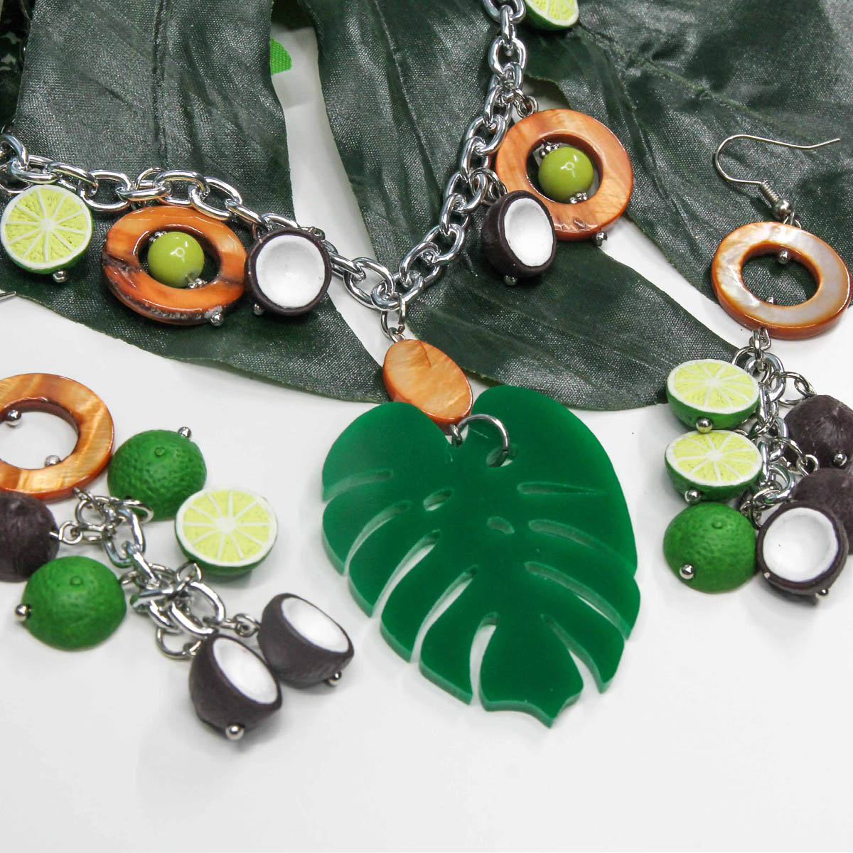 Tropical Monstera Leaf Necklace & Earrings Jewelry Setproject Pinup Pertaining To Most Current Tropical Palm Pendant Necklaces (View 24 of 25)