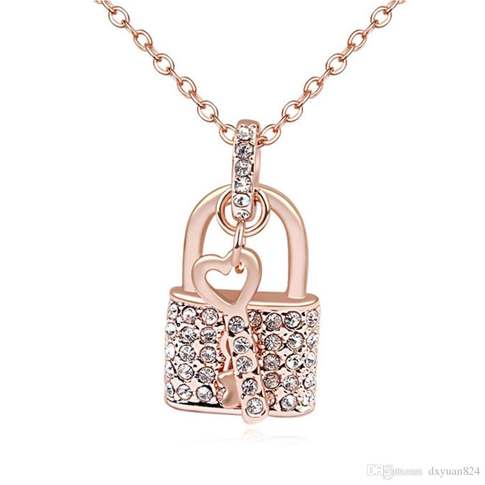 True Love Key Opens Your Heart Lock Swarovski Elements Crystal Pendant Chain Necklace Fashion Lucky Jewelry For Lover Gift Inside Newest Heart Padlock Locket Element Necklaces (View 3 of 25)