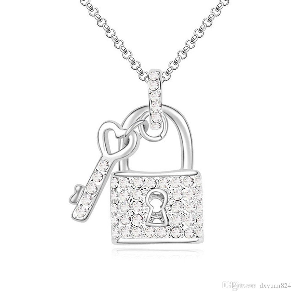 True Love Key Opens Your Heart Lock Swarovski Elements Crystal Pendant  Chain Necklace Fashion Lucky Jewelry For Lover Gift Intended For Most Recent Heart Padlock Locket Element Necklaces (Gallery 5 of 25)