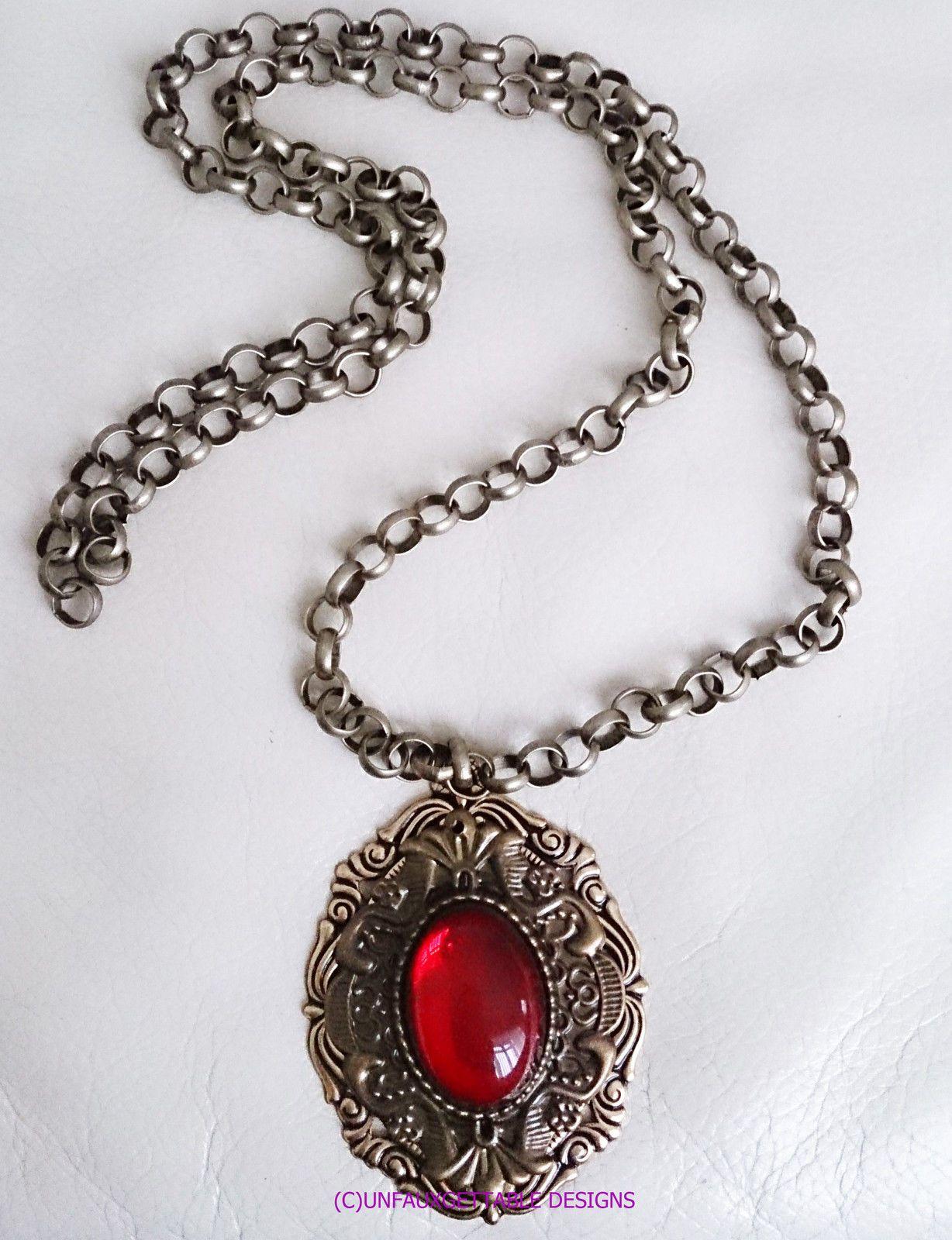 Tudor Medieval Large Rich Garnet Red Medallion Necklace Larp Ren Men In Current Garnet Red January Birthstone Locket Element Necklaces (Gallery 7 of 25)