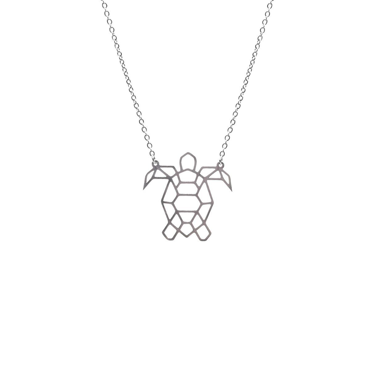 Turtle Silver Origami Necklace | Tattoo Idea | Origami Turtle In 2019 Geometric Lines Necklaces (View 22 of 25)