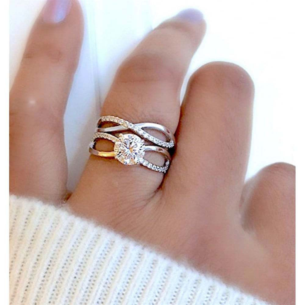 Twisted Infinity 925 Sterling Silver Wedding Engagement Ring Set Intended For Most Current Sparkling Twisted Lines Rings (View 8 of 25)