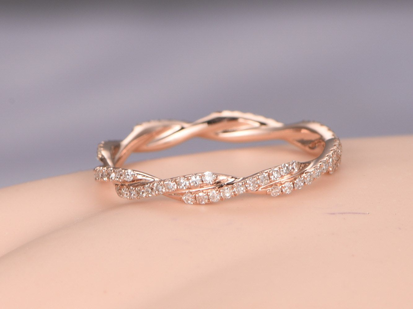 Twisted Shape,diamond Wedding Band 14k Rose Gold,full Intended For Most Recent Diamond Vine Two Row Anniversary Rings In Two Tone Gold (View 17 of 25)