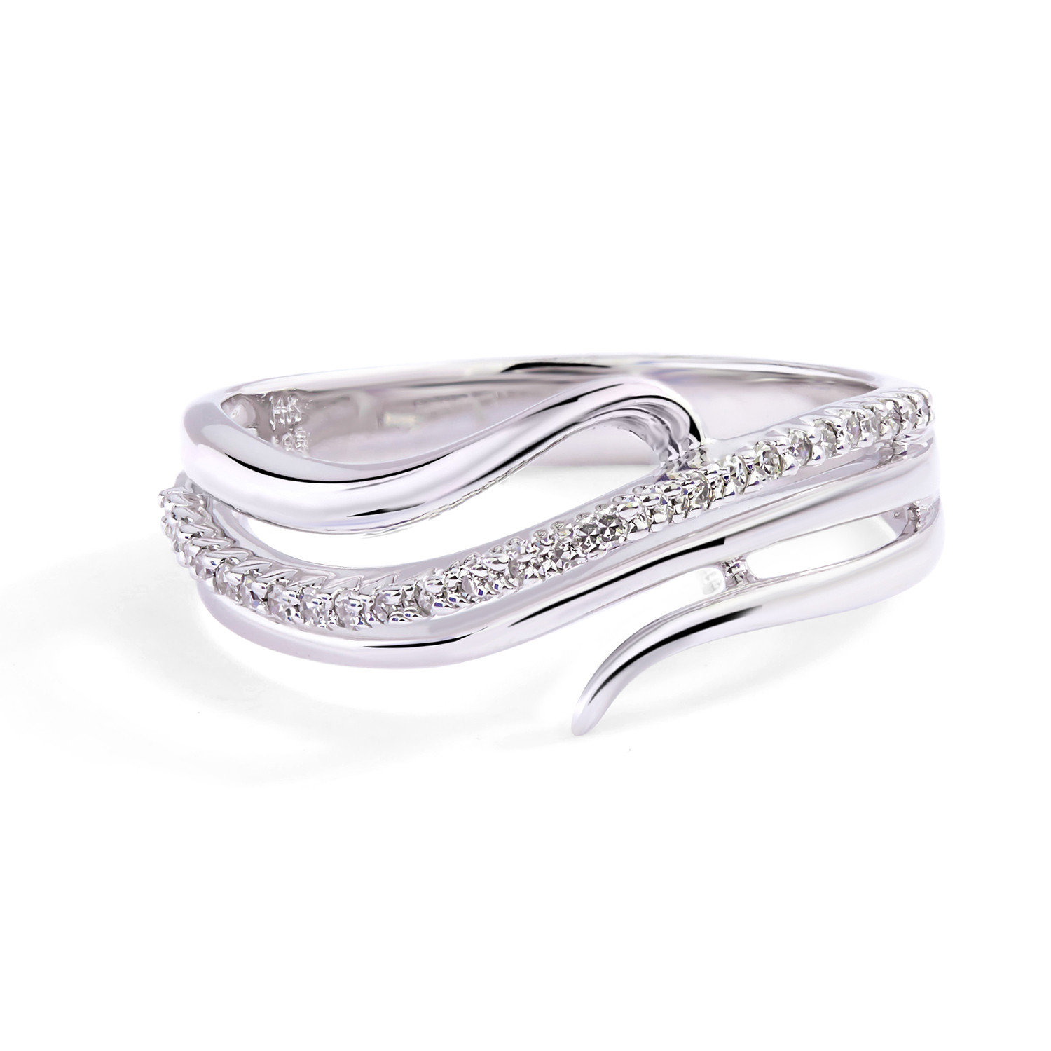Twisted Vine Diamond Ring In 14k White Gold ( (View 13 of 25)