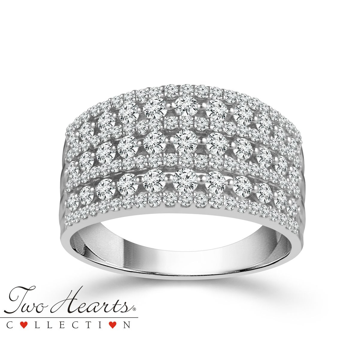 Two Hearts® 7 Row Diamond Anniversary Band In White Gold, 1Ctw In Latest Diamond Two Row Anniversary Bands In White Gold (Gallery 23 of 25)
