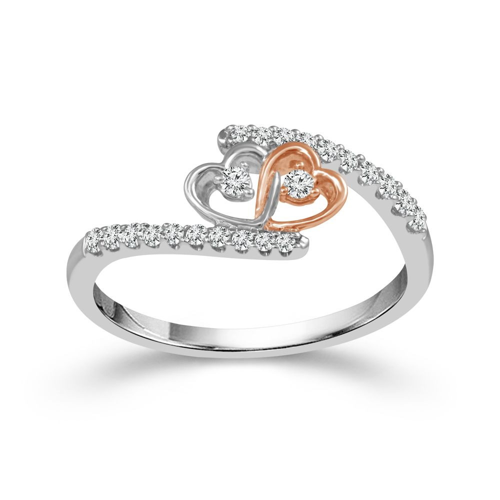 Two Hearts® Interlocking Hearts Diamond Promise Ring In Two Tone Gold,  1/5Ctw With Regard To Most Current Two Sparkling Hearts Rings (Gallery 8 of 25)
