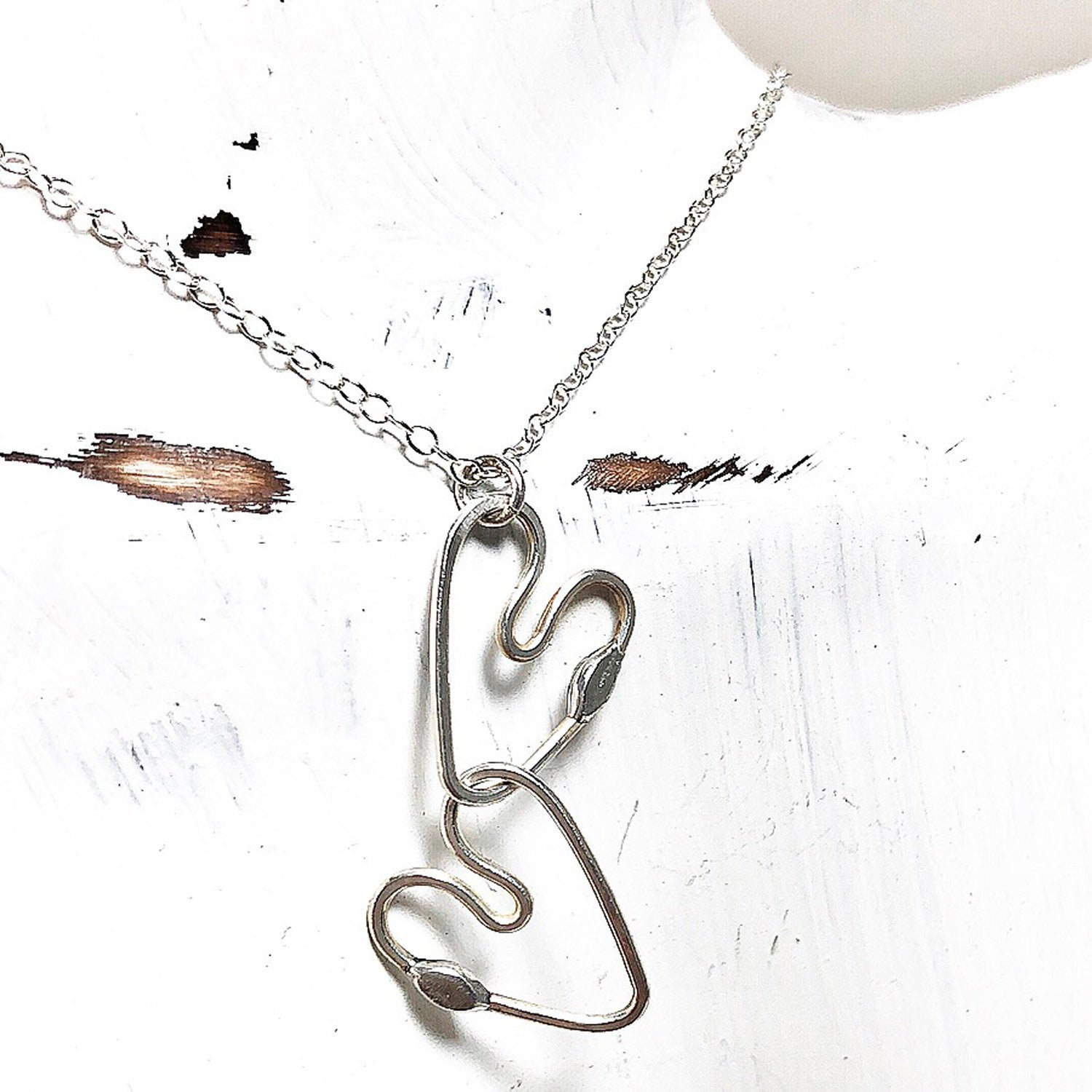 Two Hearts Joined Necklace – Silver One Of A Kind Heart Pendant – Heart  Necklaces – Sterling Silver Heart Pendant Regarding 2019 Joined Hearts Necklaces (Gallery 3 of 25)