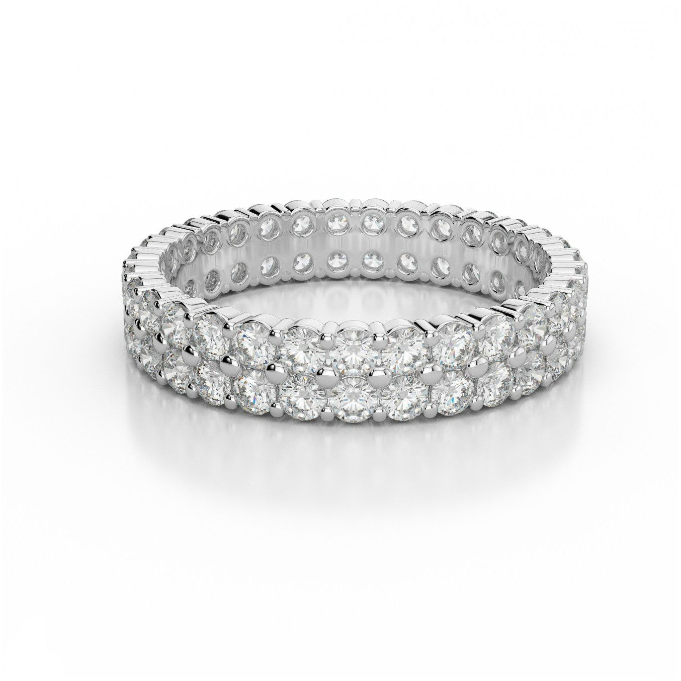 Two Row Diamond Eternity Band 14K White Gold – Diamond In Most Popular Diamond Double Row Anniversary Bands In White Gold (Gallery 5 of 25)