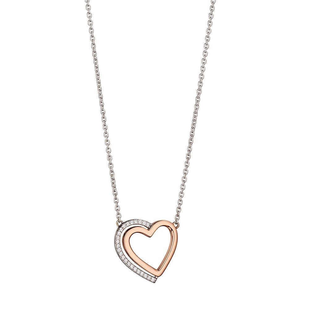 Two Tone Heart Necklace With Pave Shadow Intended For Current Heart Locket Plate Necklaces (View 14 of 25)