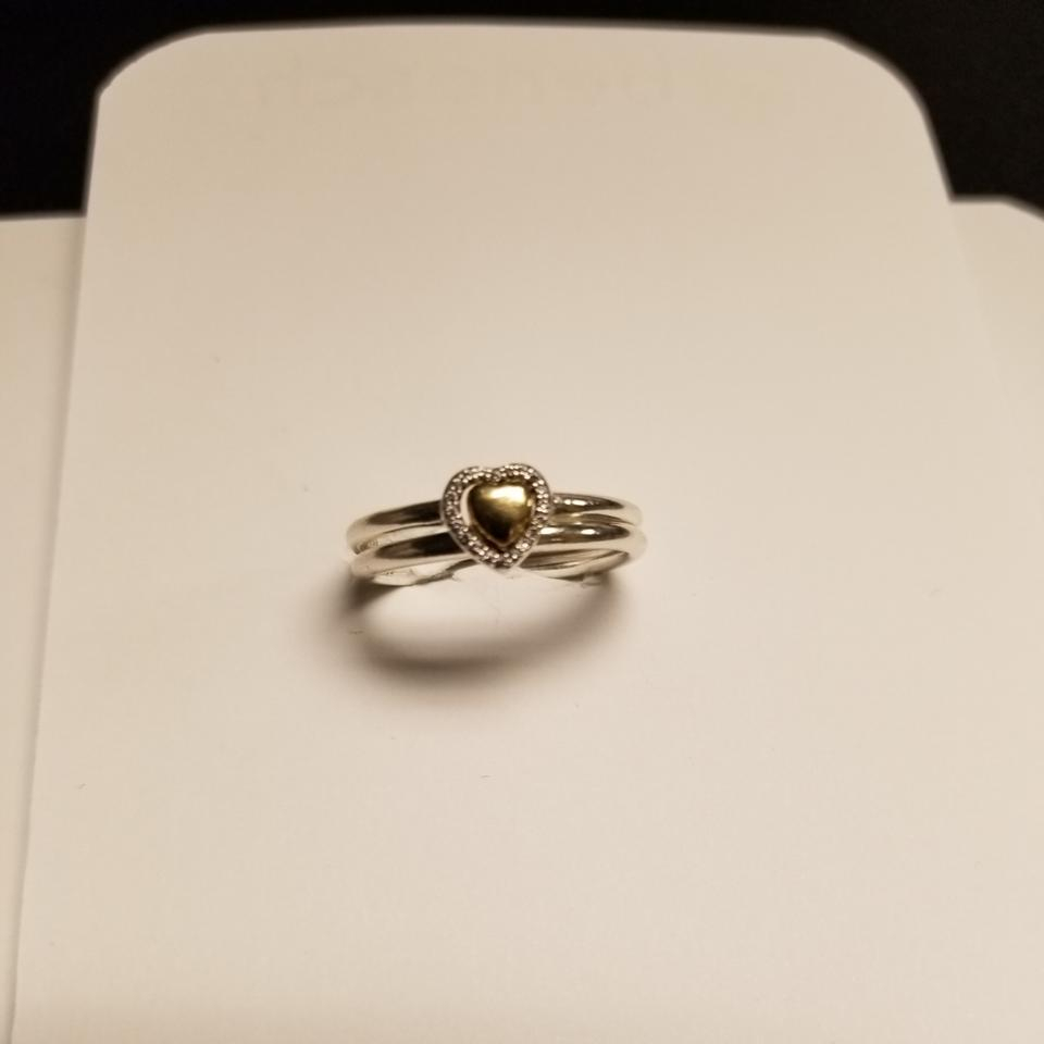 Two Tone Puzzle Heart Set Ring Within 2017 Hearts & Pandora Logo Rings (Gallery 19 of 25)