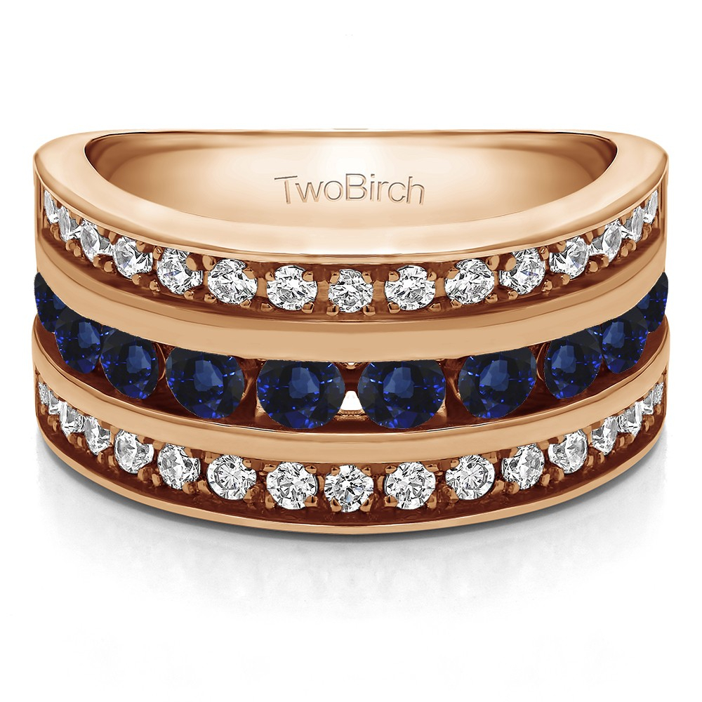 Twobirch Wedding Ring – 2 Carat Sapphire And Diamond Intended For Latest Diamond Three Row Anniversary Bands In Rose Gold (View 24 of 25)