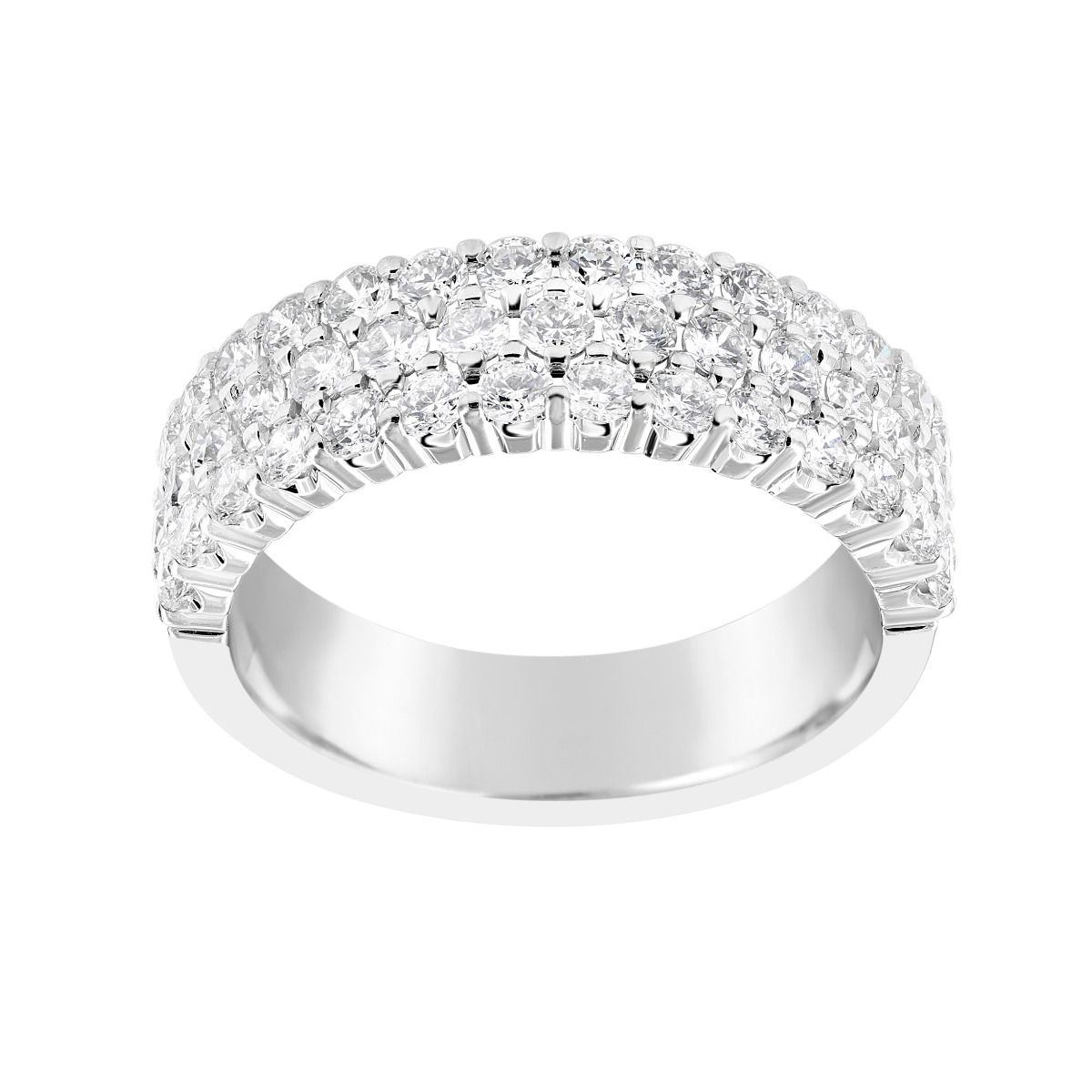 Twolondon 14k White Gold Three Row Diamond Anniversary Band Intended For Most Current Diamond Three Row Anniversary Bands In White Gold (View 2 of 25)