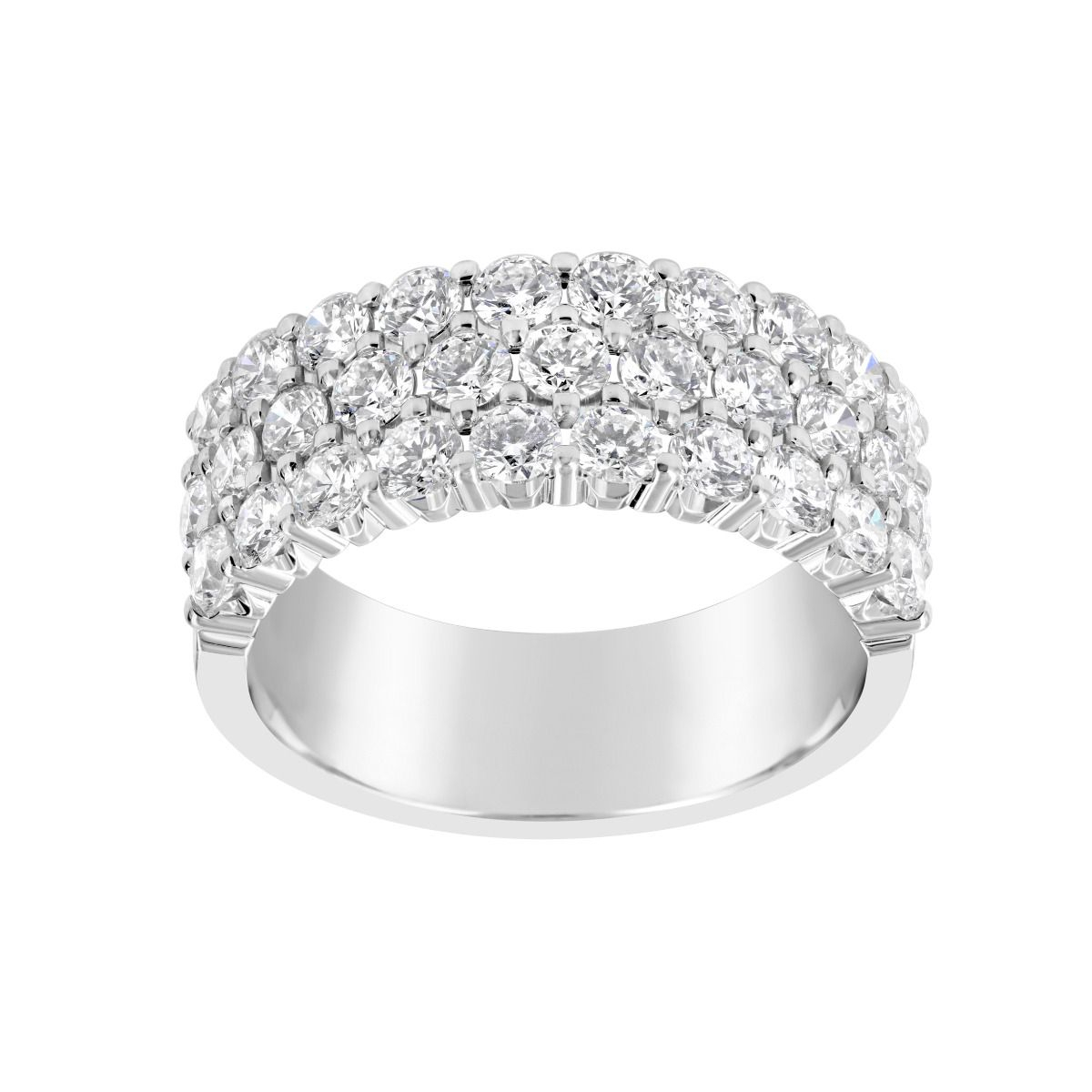 Twolondon 14k White Gold Three Row Medium Diamond Anniversary Band Regarding Best And Newest Diamond Double Row Anniversary Bands In White Gold (View 11 of 25)
