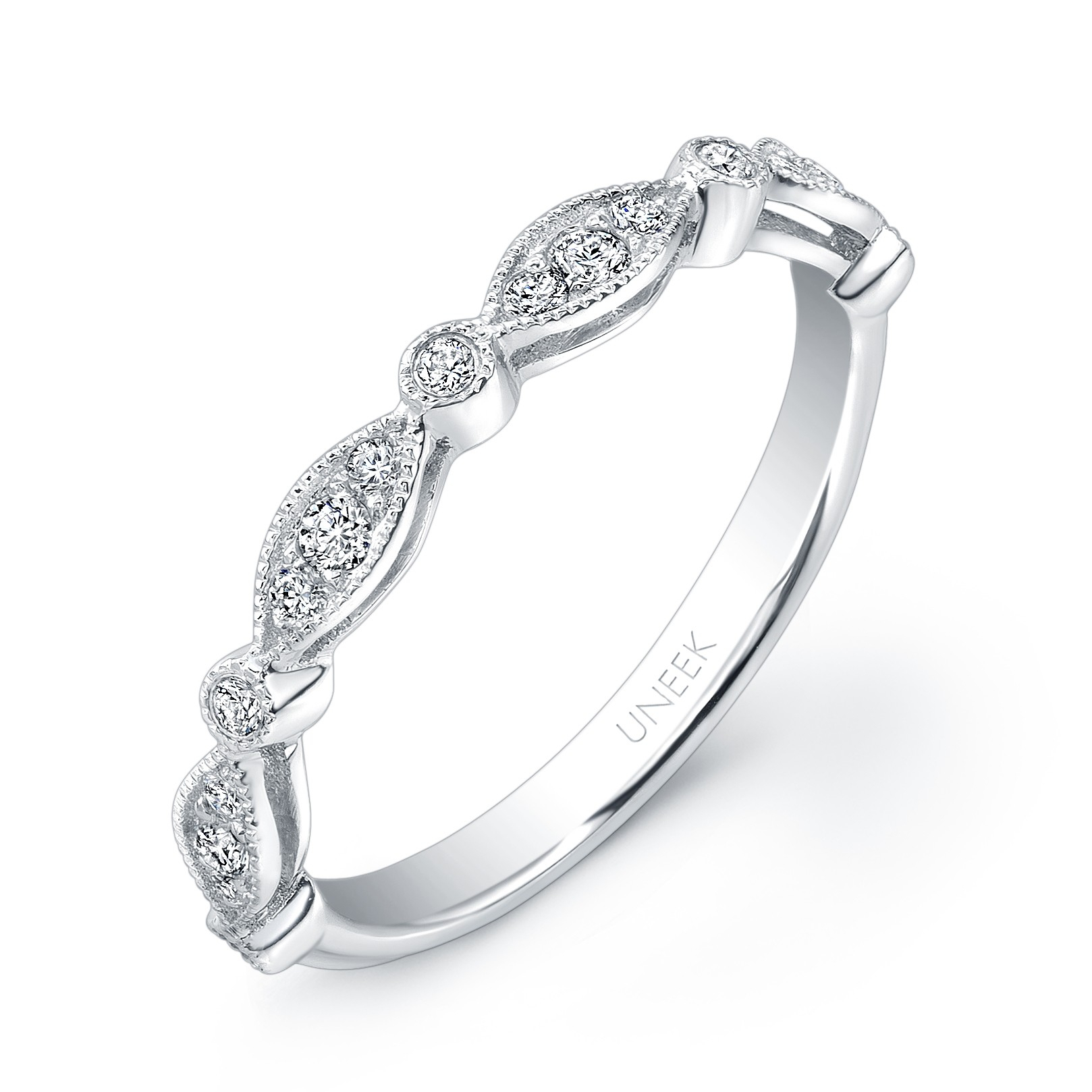 Uneek Art Nouveau Inspired Diamond Wedding Band In In Most Popular Diamond Art Deco Inspired Anniversary Bands In White Gold (Gallery 23 of 25)