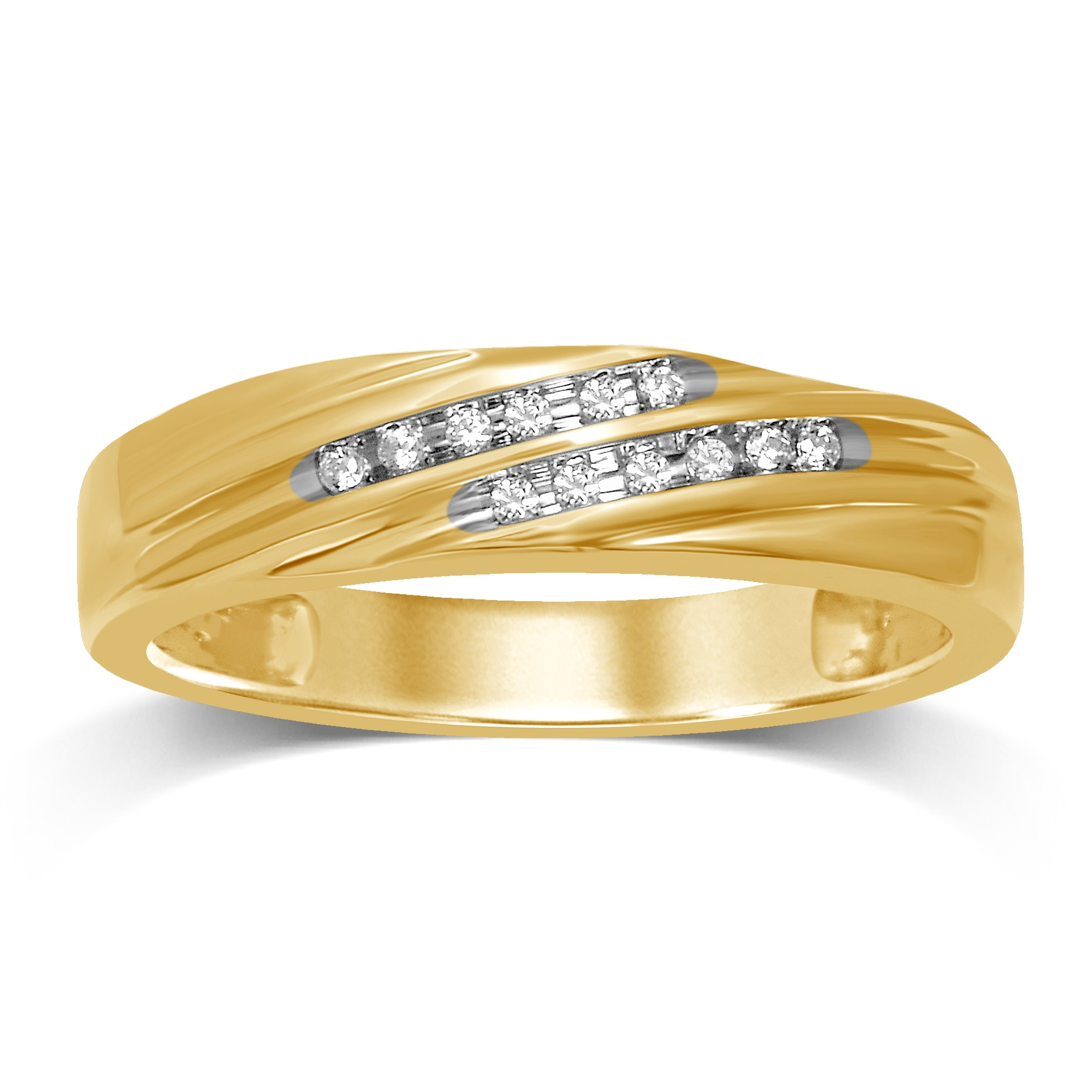 Unending Love 10k Gold Diamond Accents 2 Row Slant Diamond Wedding Ring With Newest Diamond Slant Anniversary Bands In Gold (View 4 of 25)