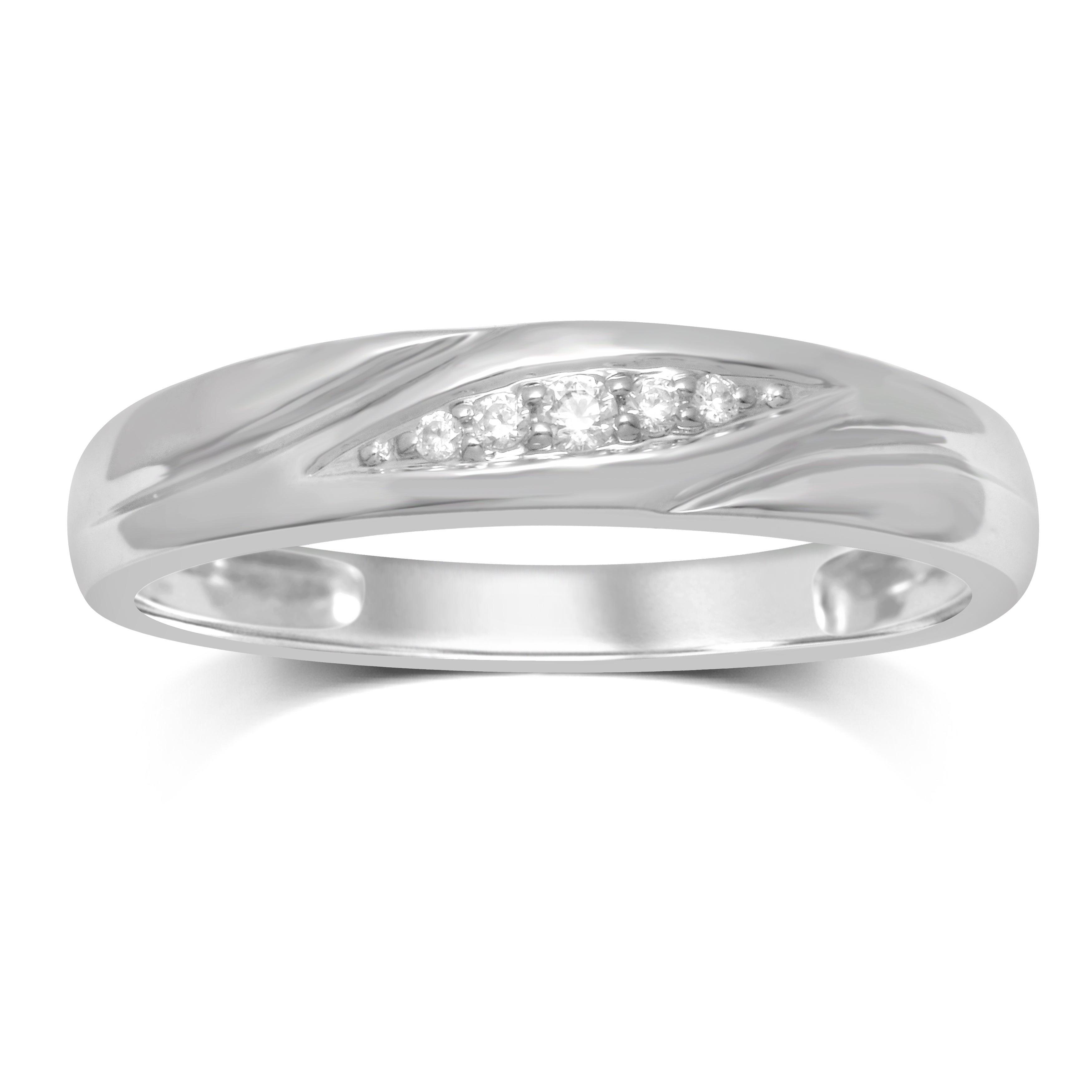 Unending Love 10k White Gold Diamond Slant Row Accent Men's Ring Inside Recent Diamond Slant Anniversary Bands In White Gold (View 7 of 25)