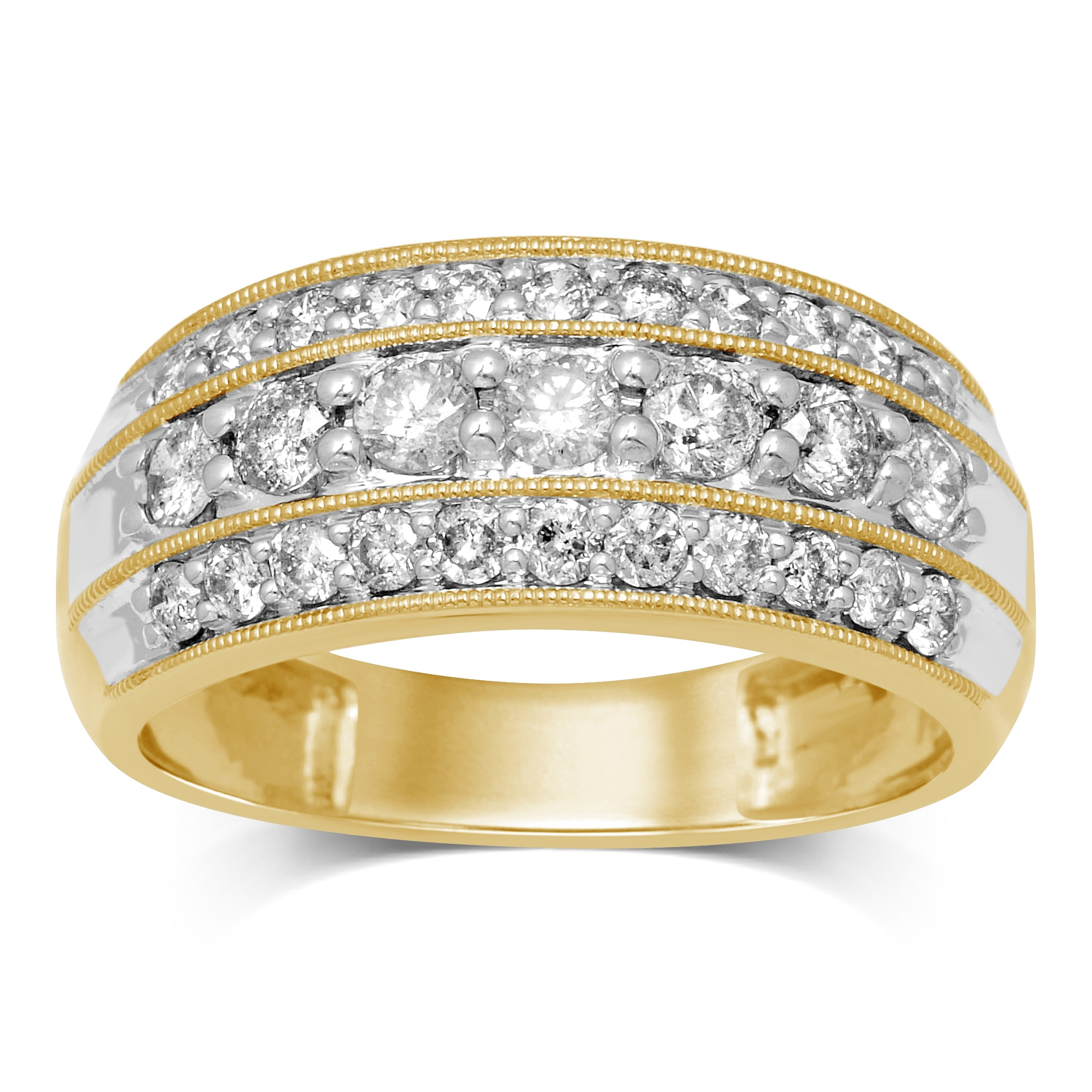 Unending Love 10K Yellow Gold 1 Cttw White Diamond Three Row Anniversary  Band For Best And Newest Diamond Three Row Anniversary Bands In Gold (View 22 of 25)