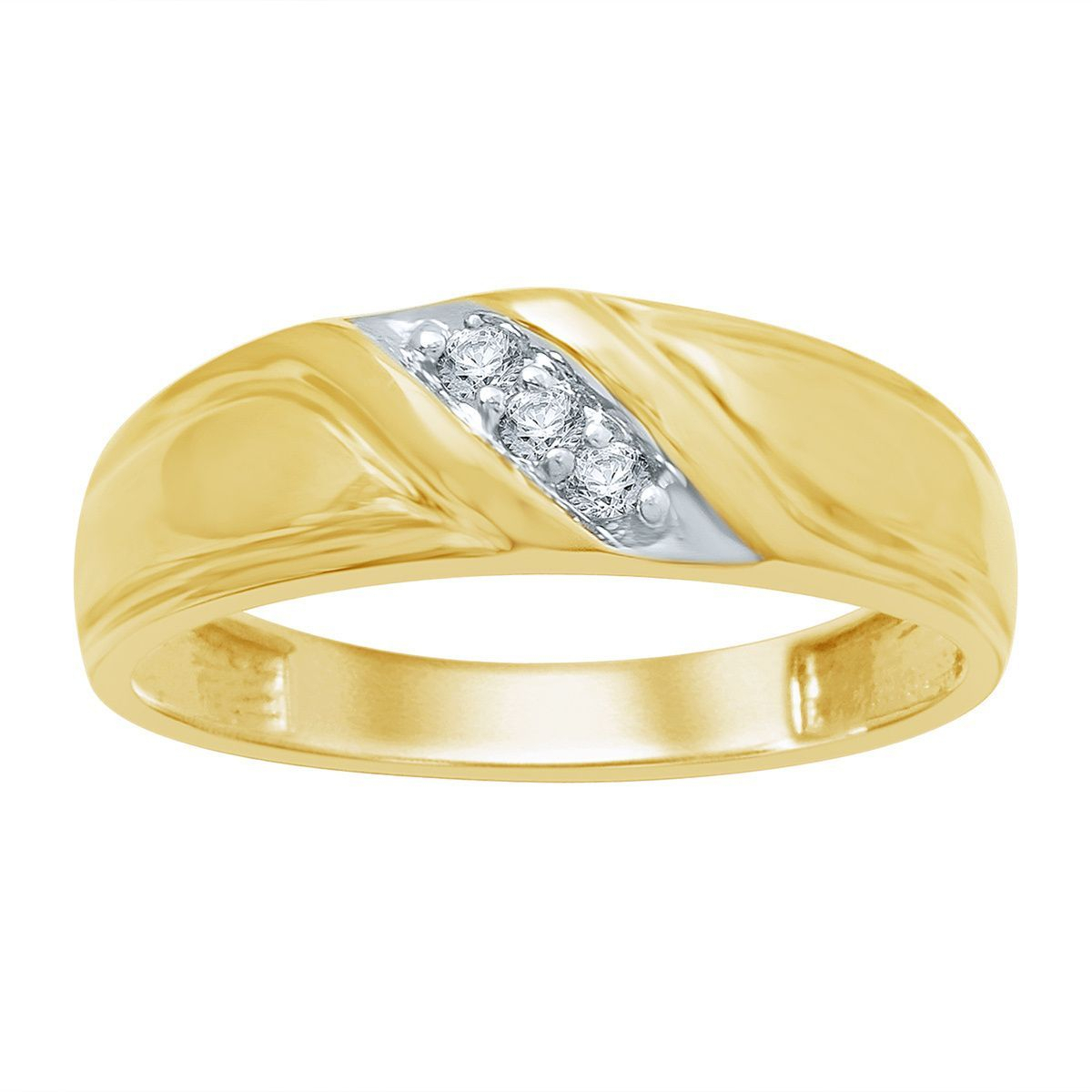 Unending Love 10K Yellow Gold Men's 1/10Ct Tdw Diamond Slant Pertaining To Newest Diamond Slant Anniversary Bands In White Gold (Gallery 12 of 25)