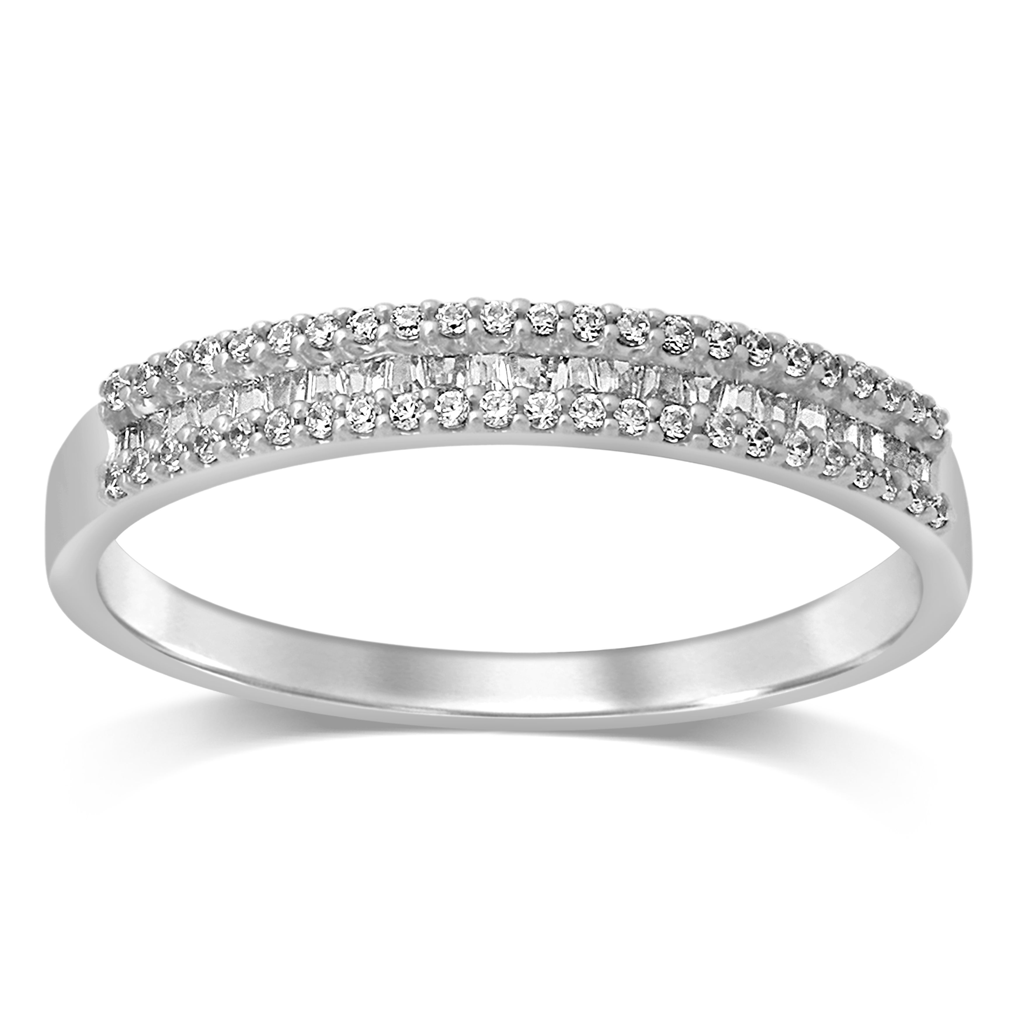 Unending Love 14K Gold 1/4 Ctw Round & Baguette Diamond Anniversary Band Intended For Most Recently Released Baguette Diamond Anniversary Bands In White Gold (View 24 of 25)