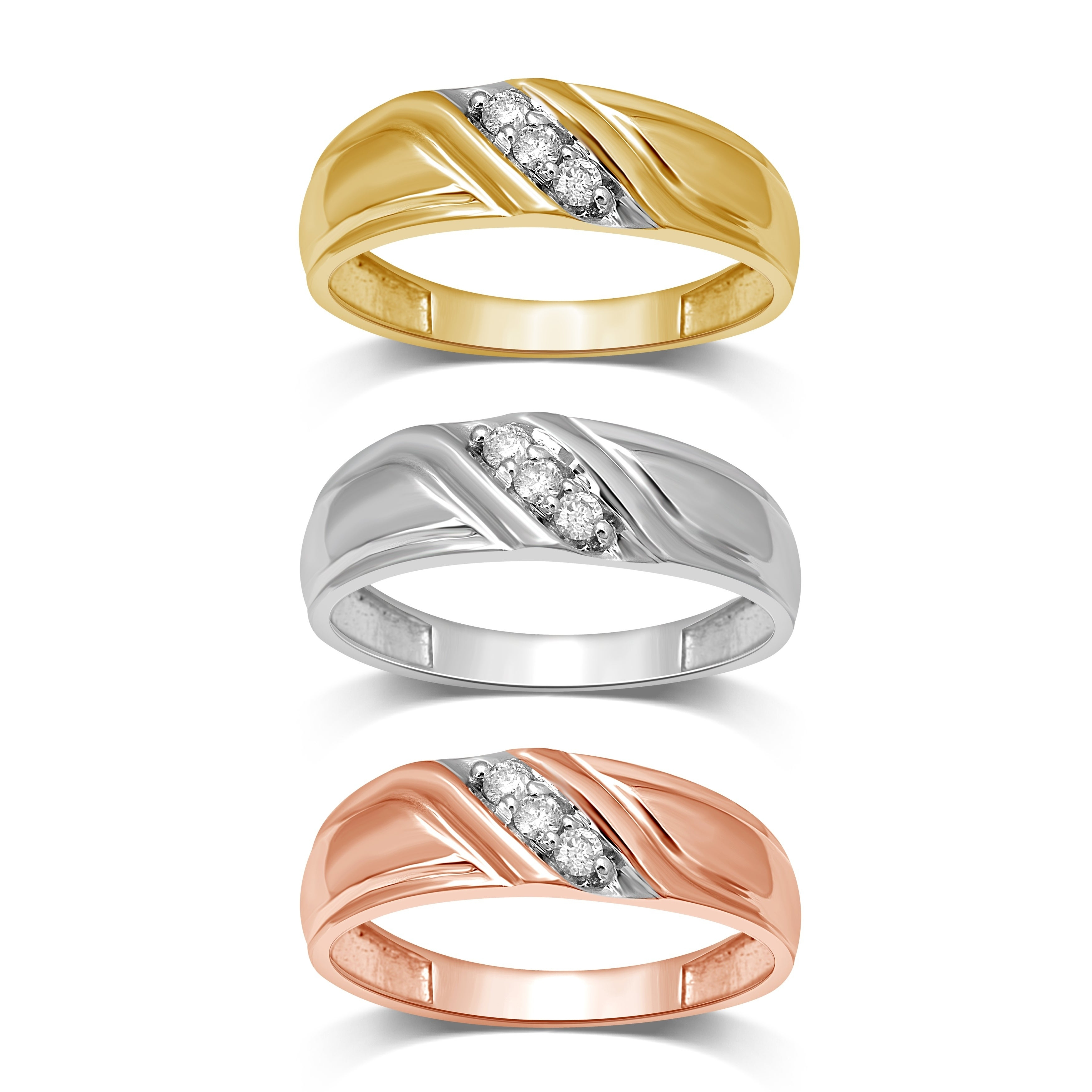 Unending Love Men's 10K Gold 1/10 Ctw Diamond Wedding Band Intended For Most Up To Date Diamond Slant Anniversary Bands In Gold (View 22 of 25)