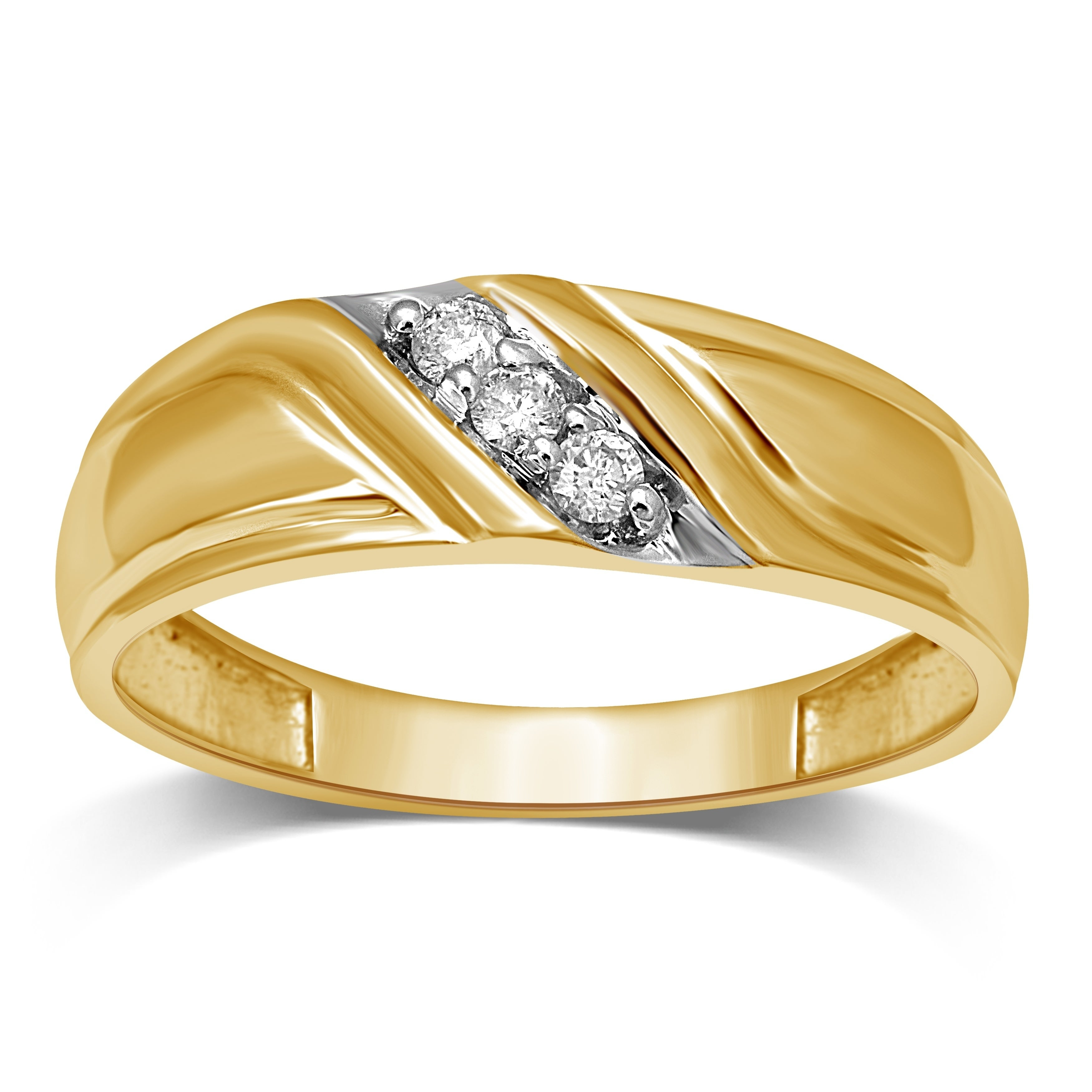 """Unending Love Men's 10K Gold 1/10 Ctw Diamond Wedding Band Pertaining To Most Recently Released Diamond Accent Five Stone """"s"""" Anniversary Bands In White Gold (Gallery 19 of 25)"""