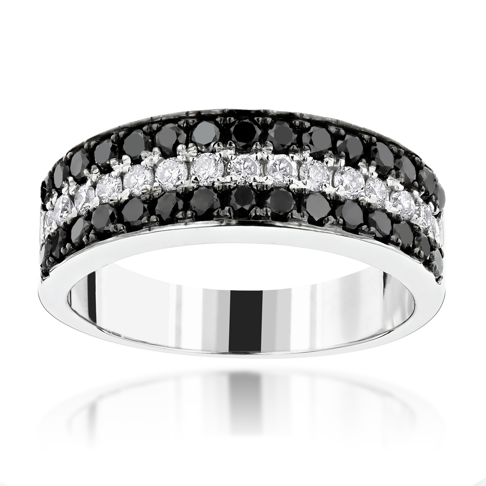 Unique 3 Row White Black Diamond Wedding Band 1.35Ct 10K Gold Luxurman Ring For Latest Diamond Three Row Anniversary Bands In White Gold (Gallery 14 of 25)