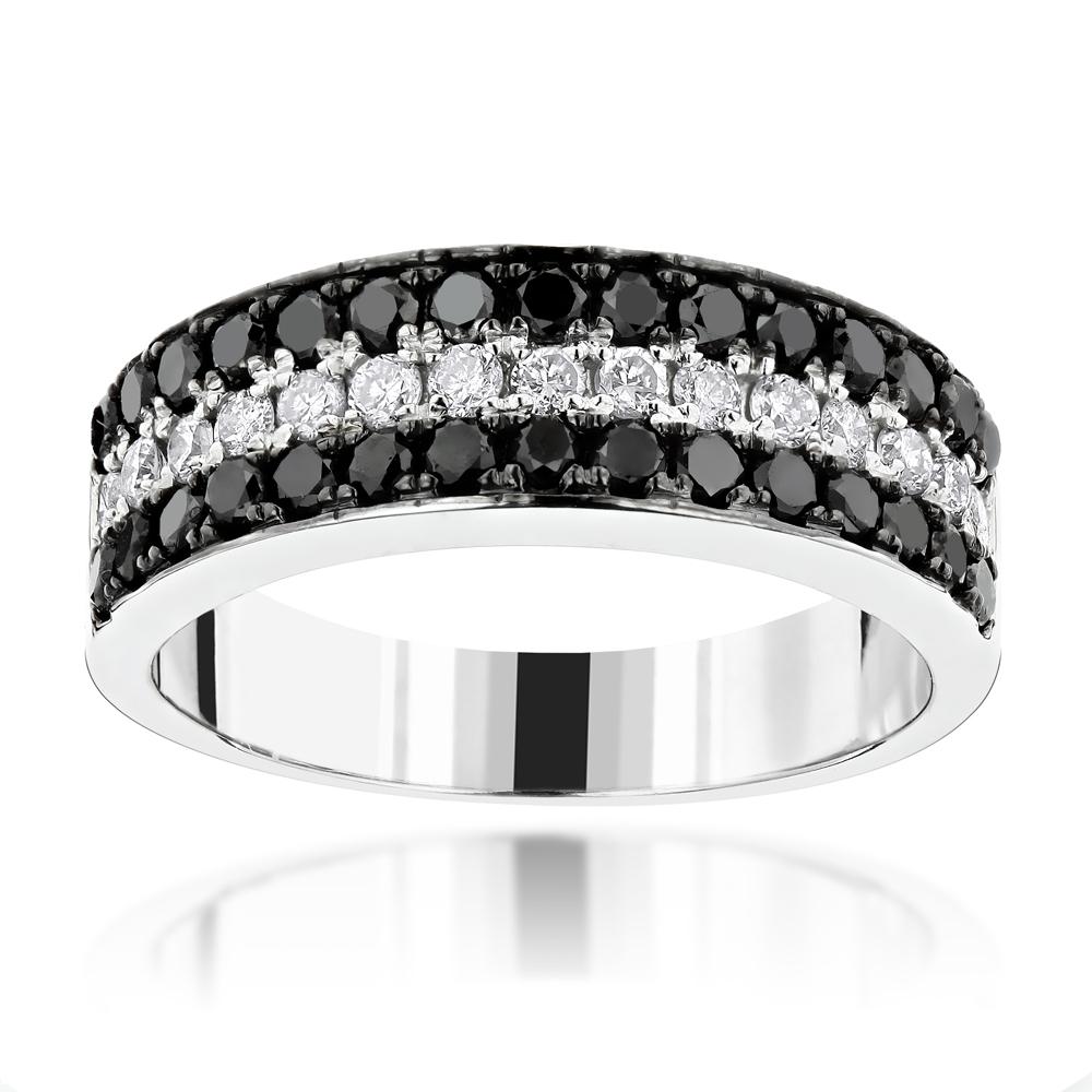 Unique 3 Row White Black Diamond Wedding Band  (View 20 of 25)