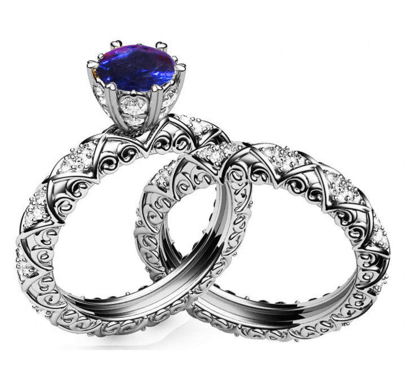 Unique Bridal Set Sapphire & Diamond Braided Pavé Engraving Matching Wedding Band In 14k Or 18k White Gold Marriage Forever Inside Most Current Diamond Braid Anniversary Bands In White Gold (View 11 of 25)