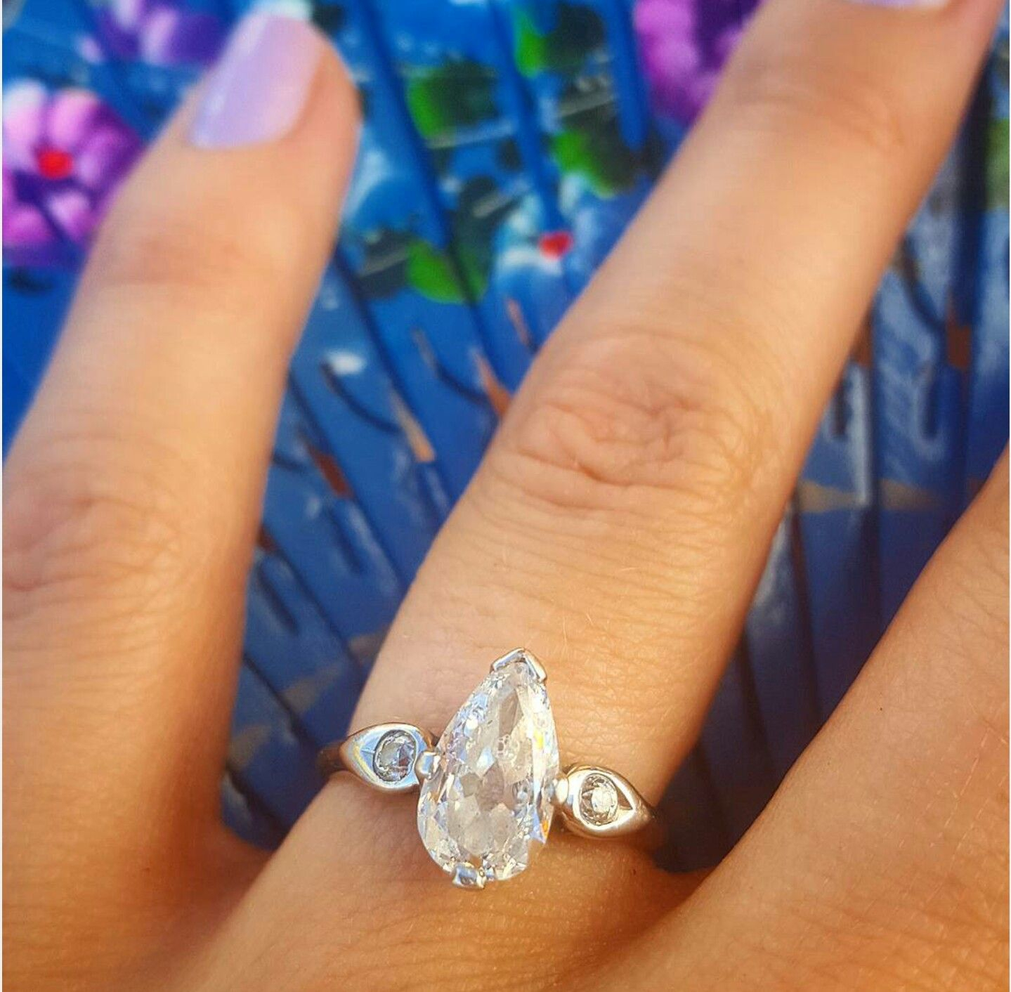 Unique Engagement Ring Vintage 1930s Antique Pear Shaped Teardrop Intended For Most Popular Classic Teardrop Halo Rings (View 1 of 25)