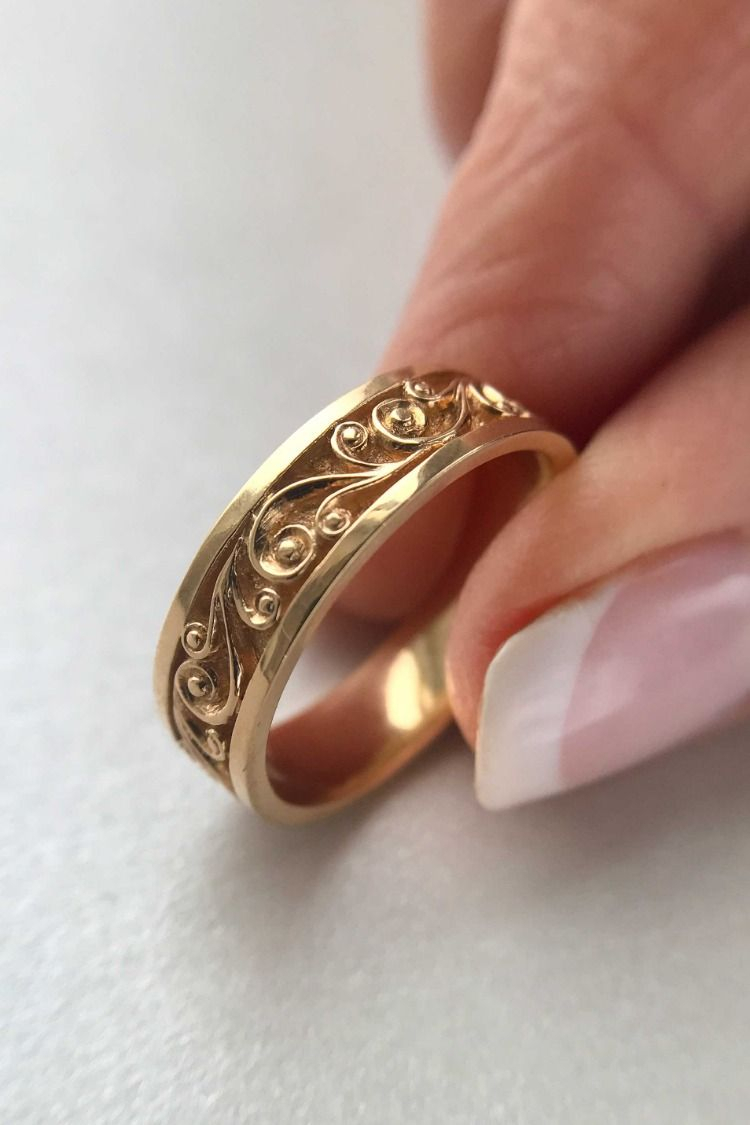 Unique Filigree Diamond Matte Gold Wedding Band Set, Floral In Recent Enhanced Cognac Diamond Vintage Style Anniversary Bands In Rose Gold (Gallery 12 of 25)