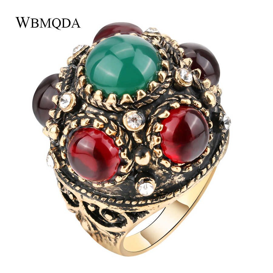 Unique Flower Crown Ring Turkish Crystal Stone Antique Gold Rings For Women Bohemian Jewelry Vintage Accessories Wholesale Inside 2018 Flower Crown Rings (View 23 of 25)