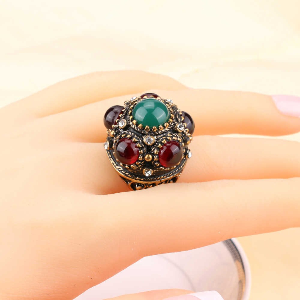 Unique Flower Crown Ring Turkish Crystal Stone Antique Gold Rings For Women  Bohemian Jewelry Vintage Accessories Wholesale Throughout Most Up To Date Flower Crown Rings (View 22 of 25)