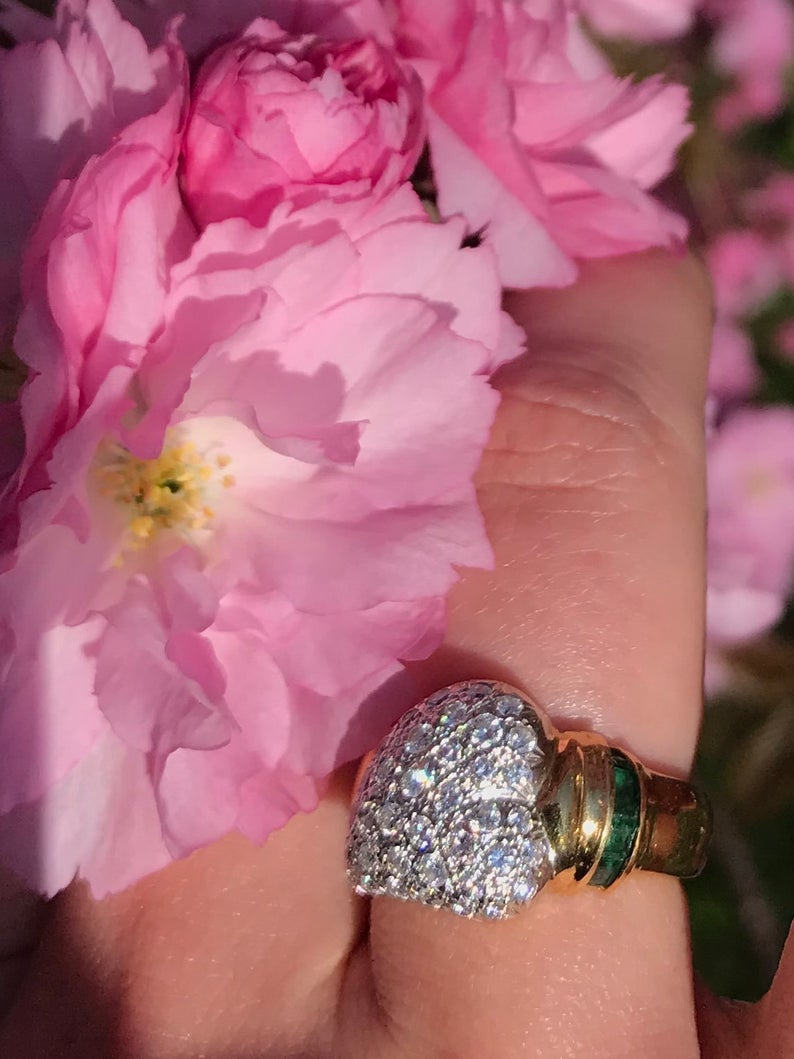 Unique Pavé Diamond Engagement/wedding Or Independence Ring Regarding 2017 Pavé Flower Rings (View 22 of 25)
