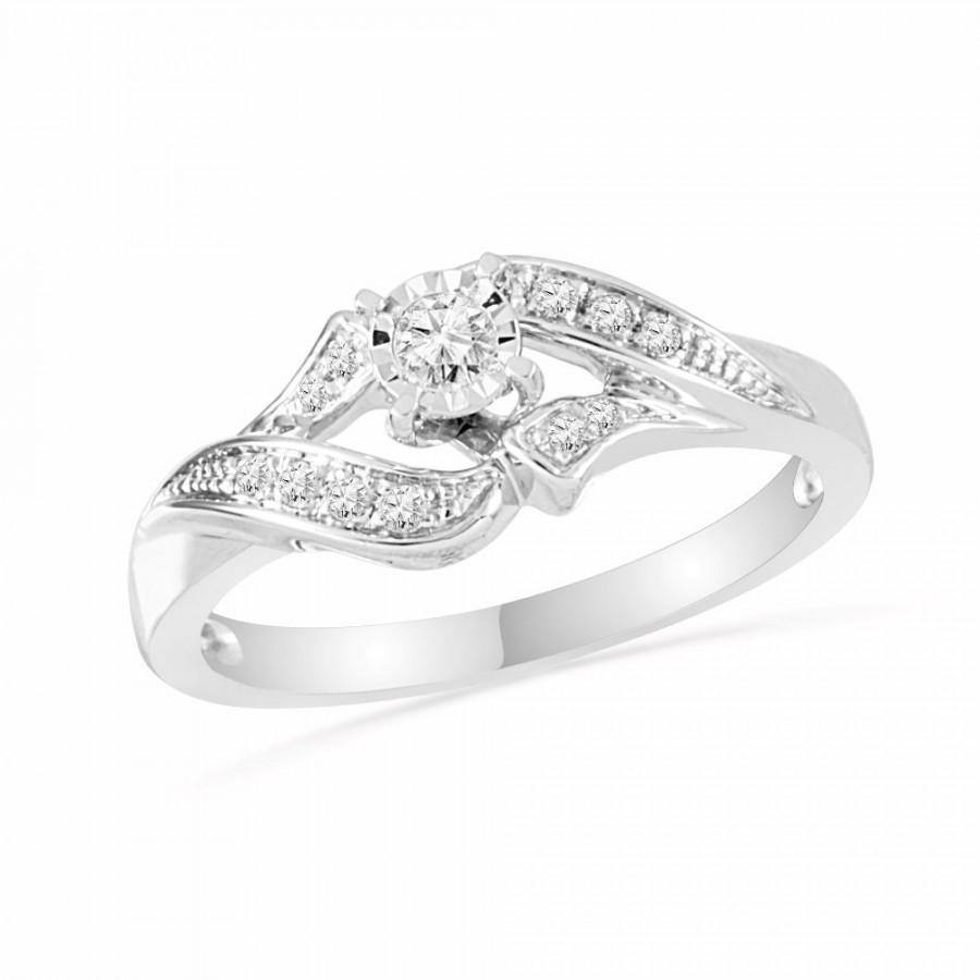 Unique Promise Ring For Women With Diamond Center Stone And For Most Recently Released Diamond Seven Stone Bypass Anniversary Bands In Sterling Silver (View 9 of 25)