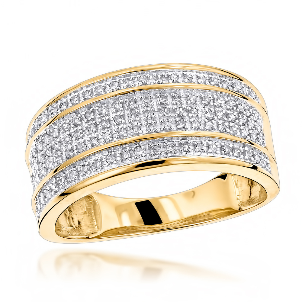 Unique Wedding Bands 10K Gold 5 Row Diamond Ring For Men For Most Recently Released Diamond Five Stone Triple Row Anniversary Bands In White Gold (View 24 of 25)