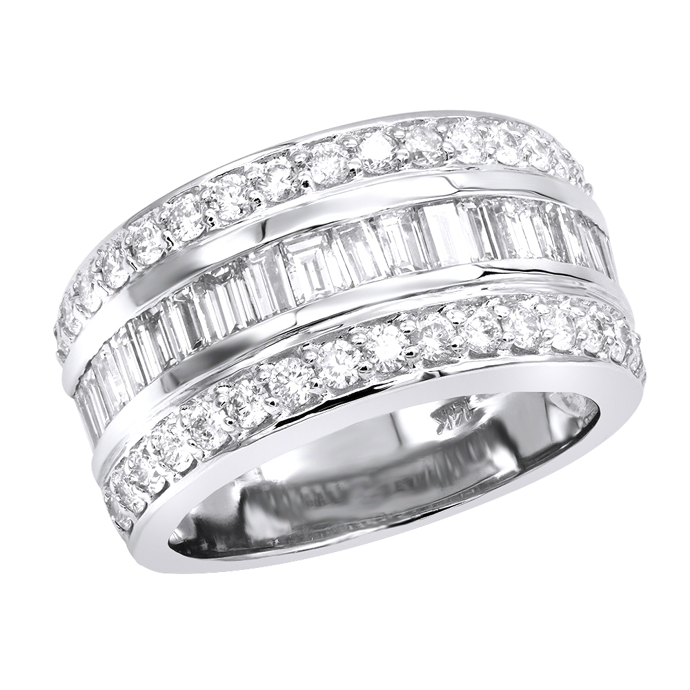 Unique Wedding Bands 14K Gold Vs Round And Baguette Diamond Ring 2.86Ct Inside 2020 Round And Baguette Diamond Vintage Style Anniversary Bands In White Gold (Gallery 25 of 25)