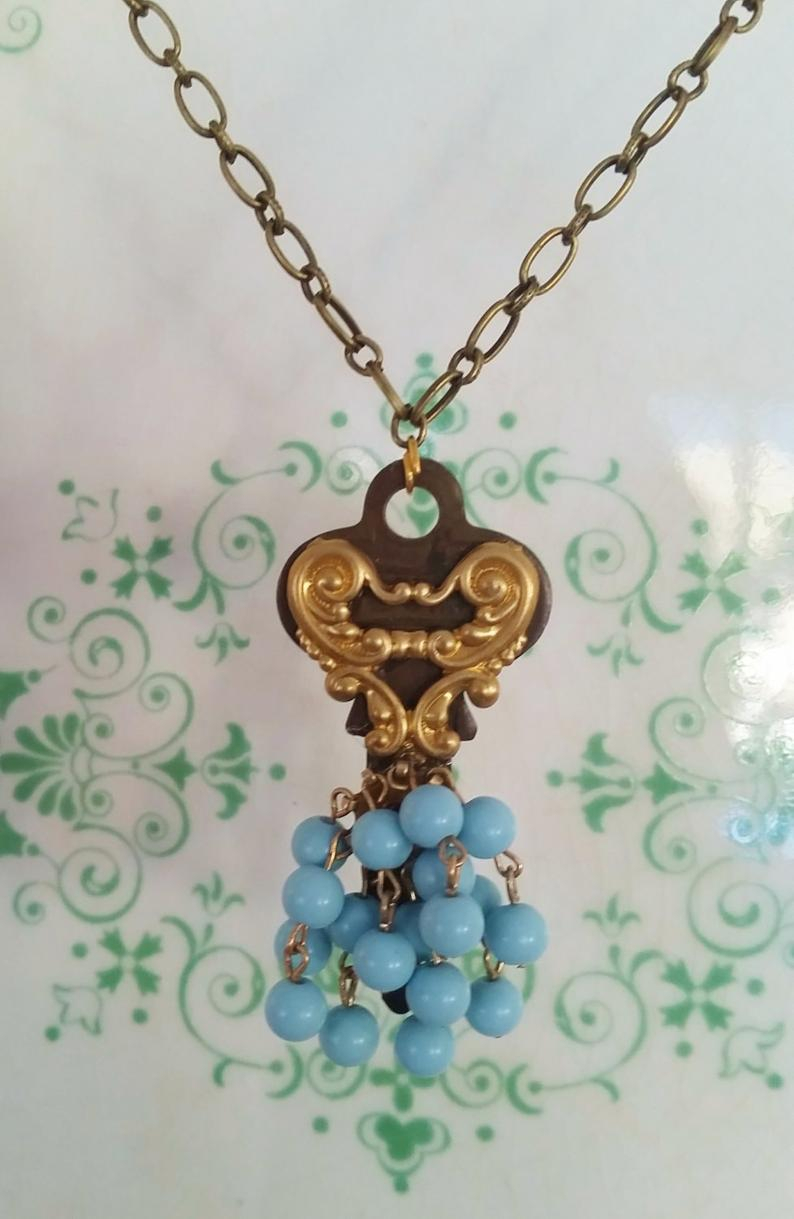 Upcycled Key, Key Necklace, Blue Beads, Brass Chain, Vintage Key Jewelry, Funky Types, Dangly Beads, Filigree Heart, Steampunk Ballet Skirt Within Most Recently Released Beaded Heart Key Locket Element Necklaces (View 5 of 25)