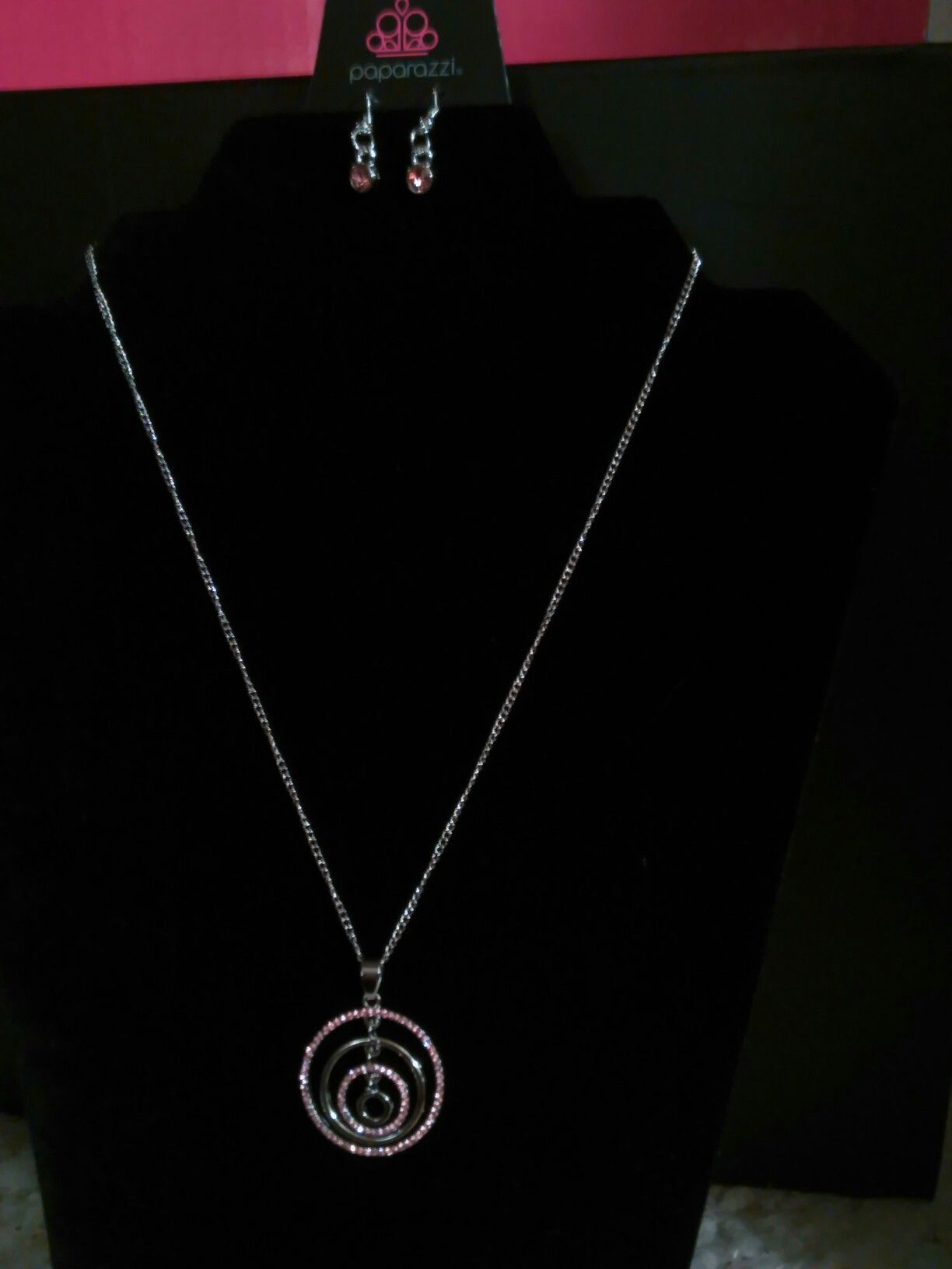 Upper East Side Pink Rhinestone Circular Pendant Necklace | My Pertaining To 2020 Sparkling Ice Cube Circle Pendant Necklaces (View 8 of 25)