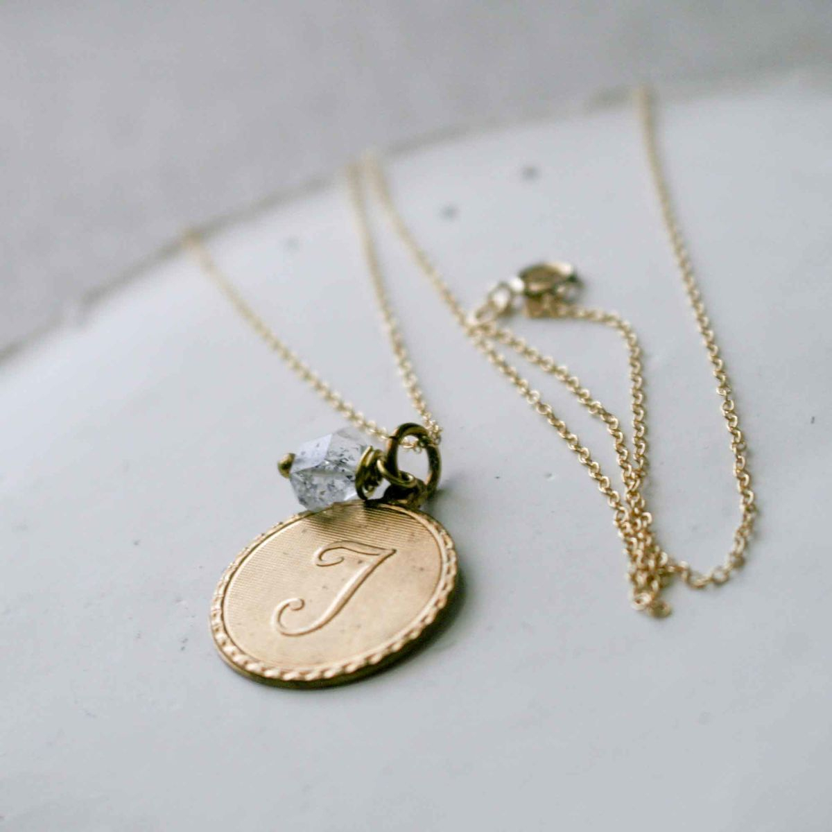 Uppercase Cursive Initial Monogram Letter Round Disc Charm Necklace For Most Popular Letter Q Alphabet Locket Element Necklaces (View 17 of 26)